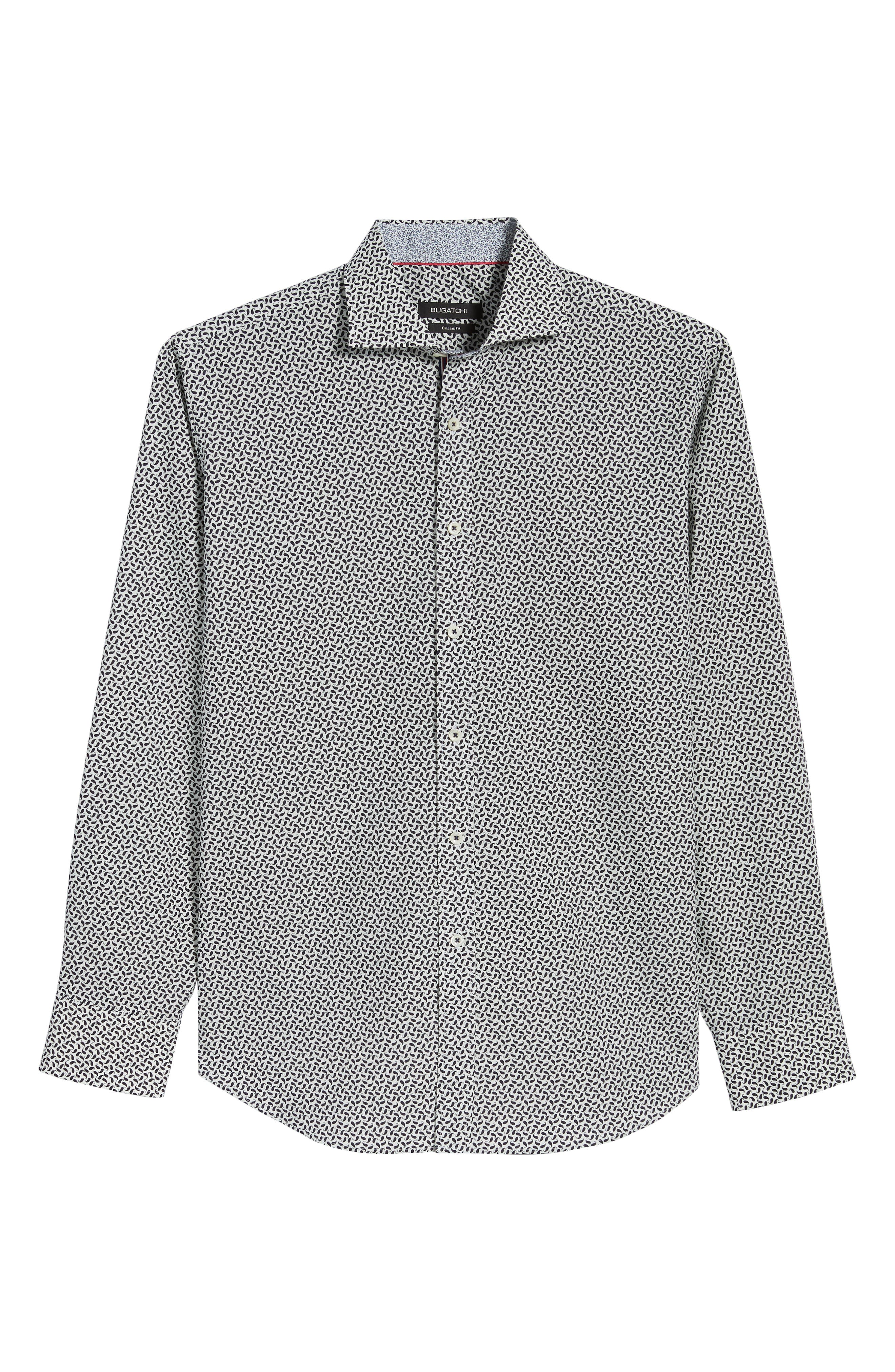 Classic Fit Mini Paisley Print Sport Shirt,                             Alternate thumbnail 6, color,                             MIDNIGHT