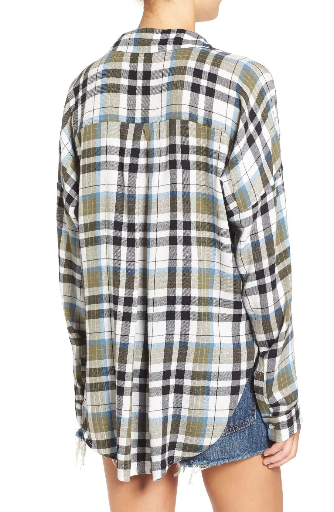 Twist Front Plaid Shirt,                             Alternate thumbnail 5, color,                             315