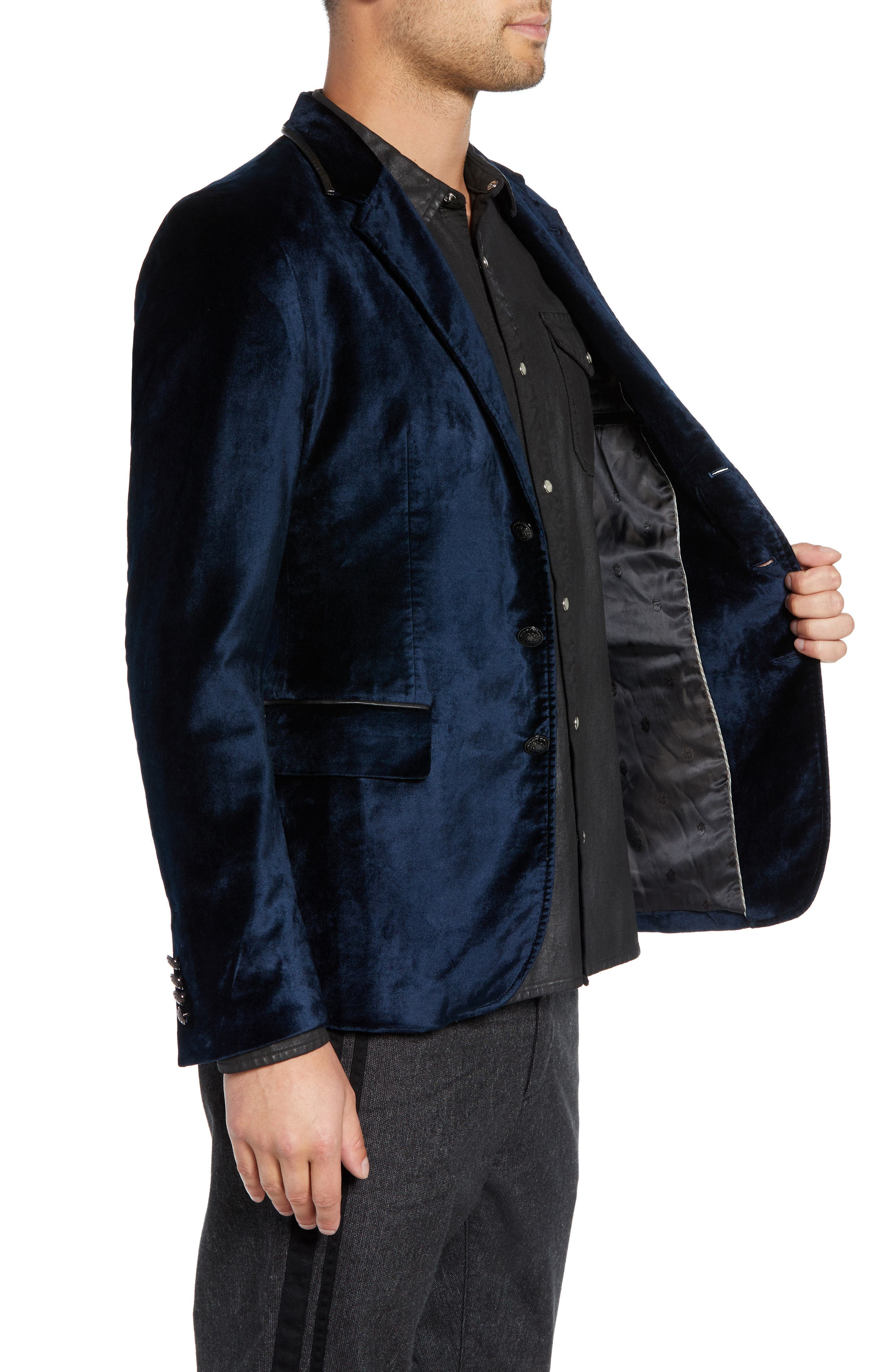 Velvet Jacket with Leather Trim,                             Alternate thumbnail 3, color,                             SAPPHIRE