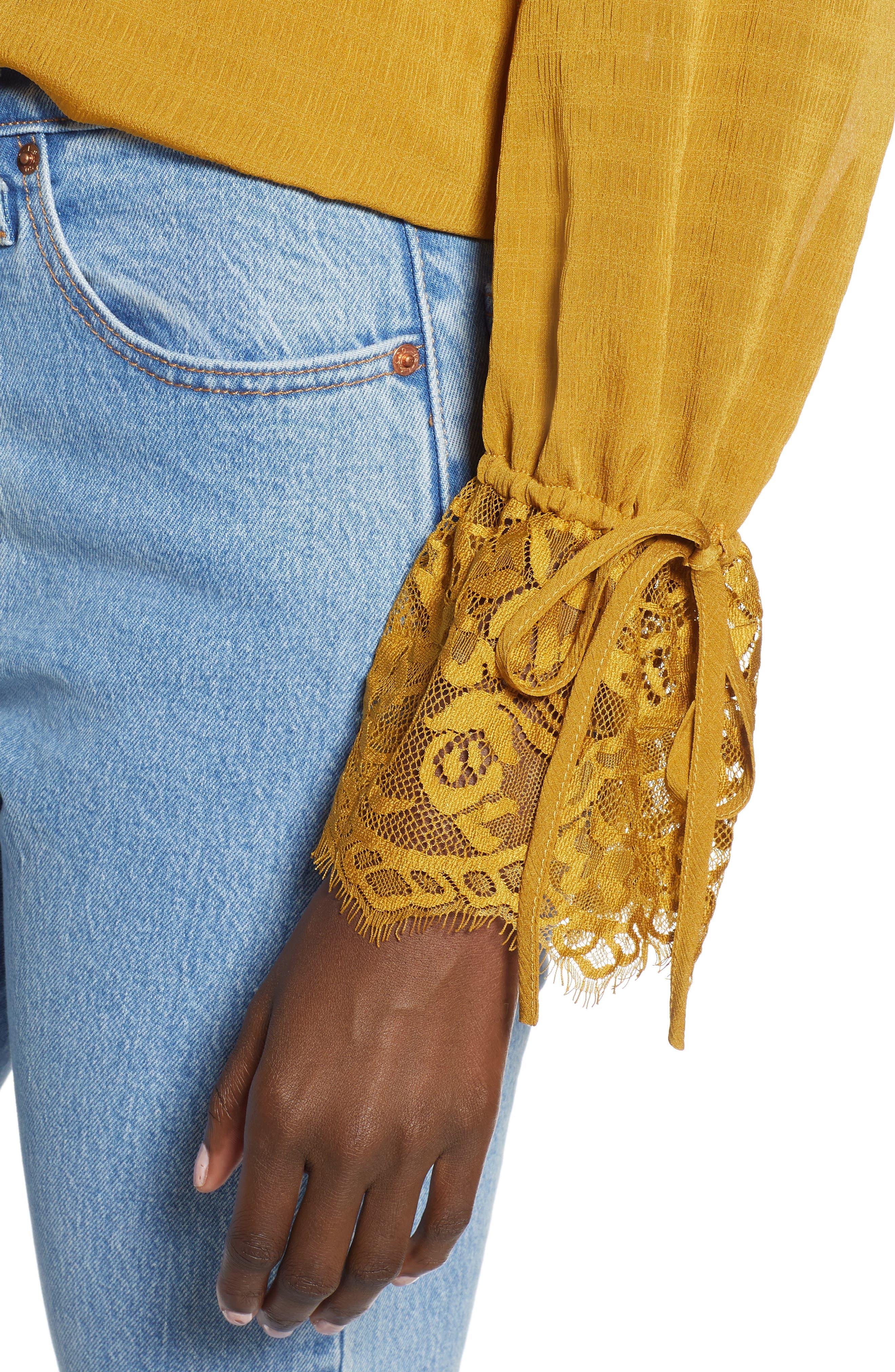 Lace Panel Blouse,                             Alternate thumbnail 4, color,                             GOLDEN ROD
