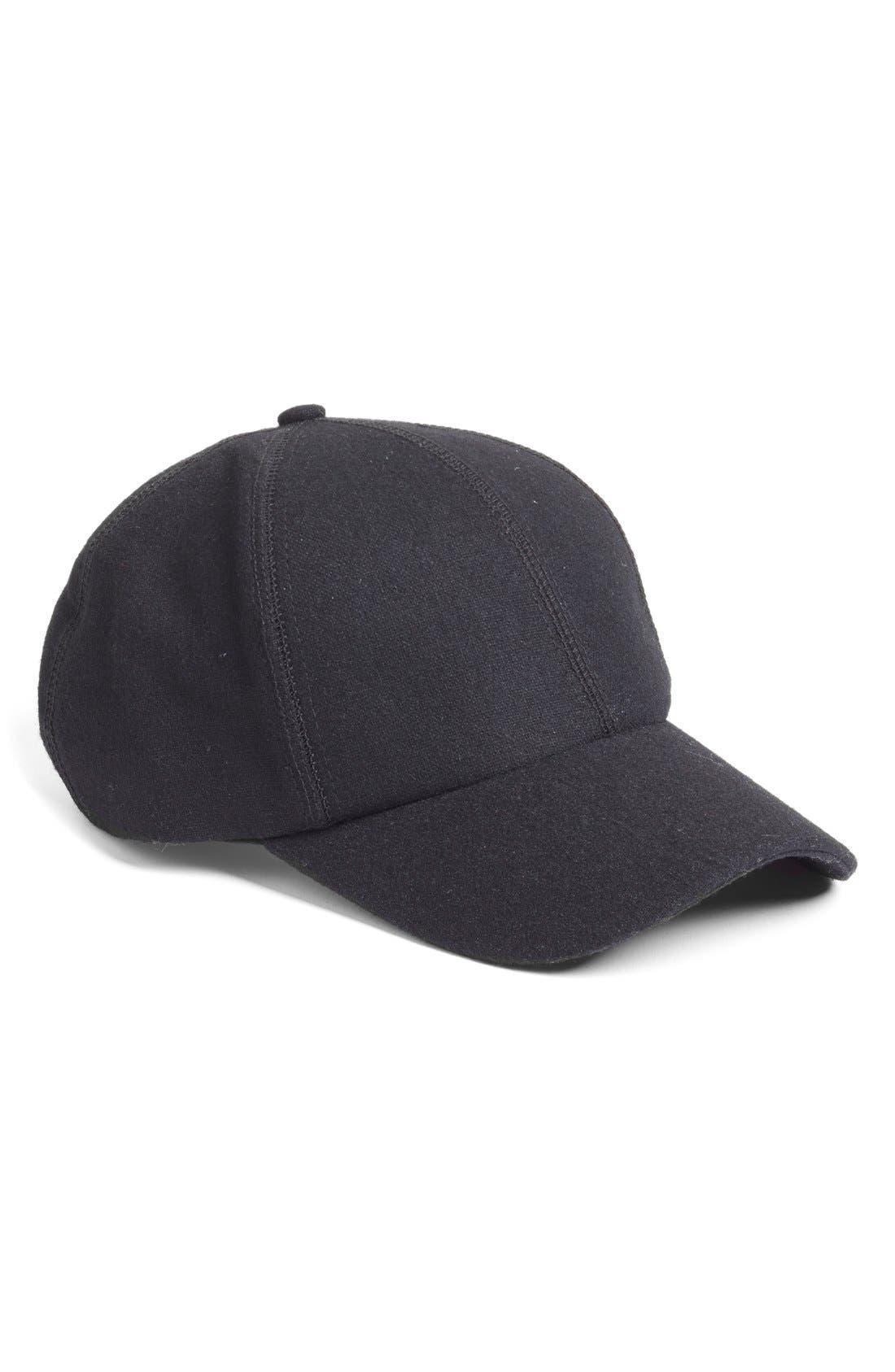 Melton Wool Baseball Cap,                             Main thumbnail 1, color,                             001
