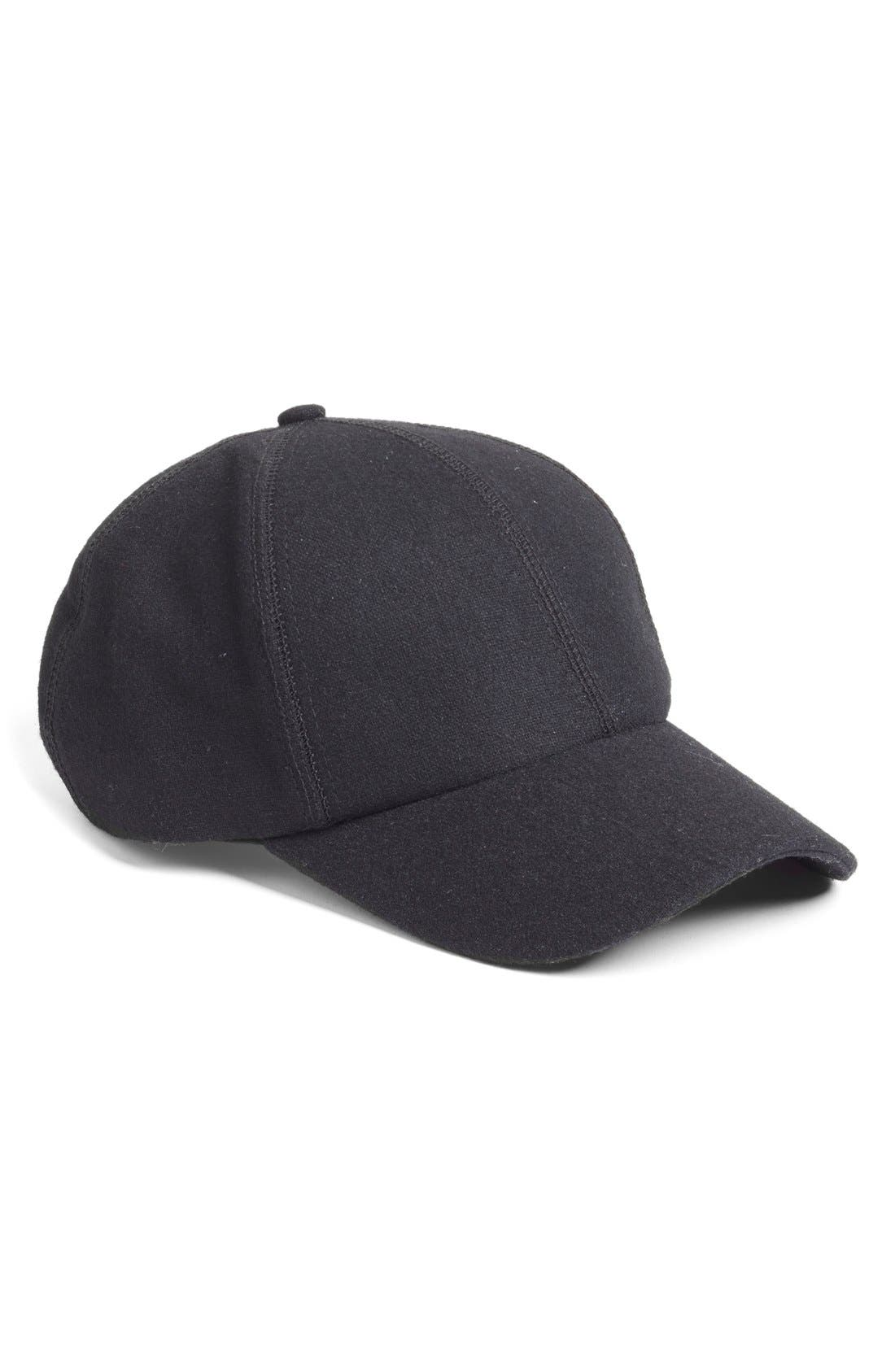 Melton Wool Baseball Cap, Main, color, 001
