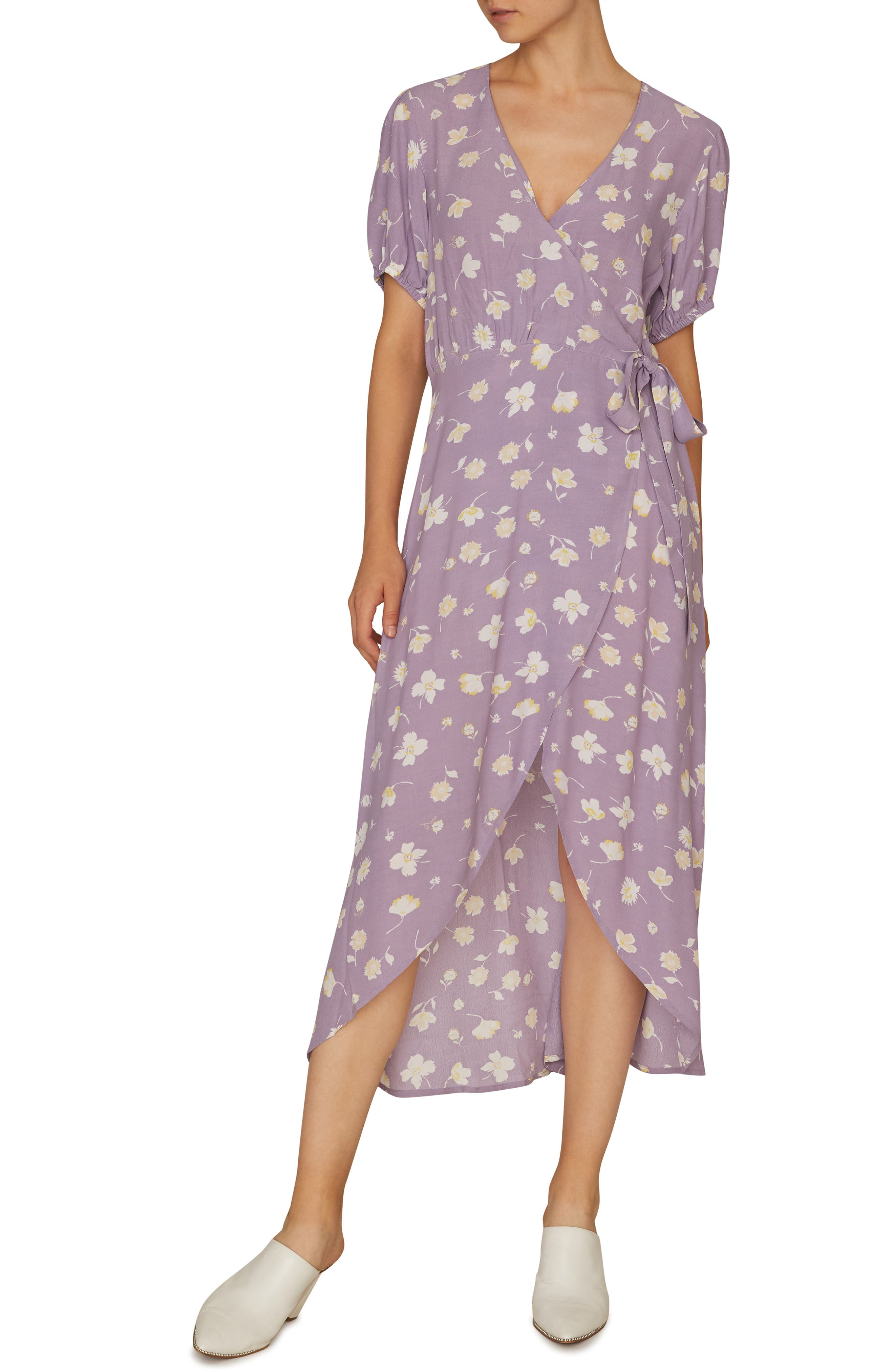 Sanctuary Meadow Wrap Midi Dress, Purple
