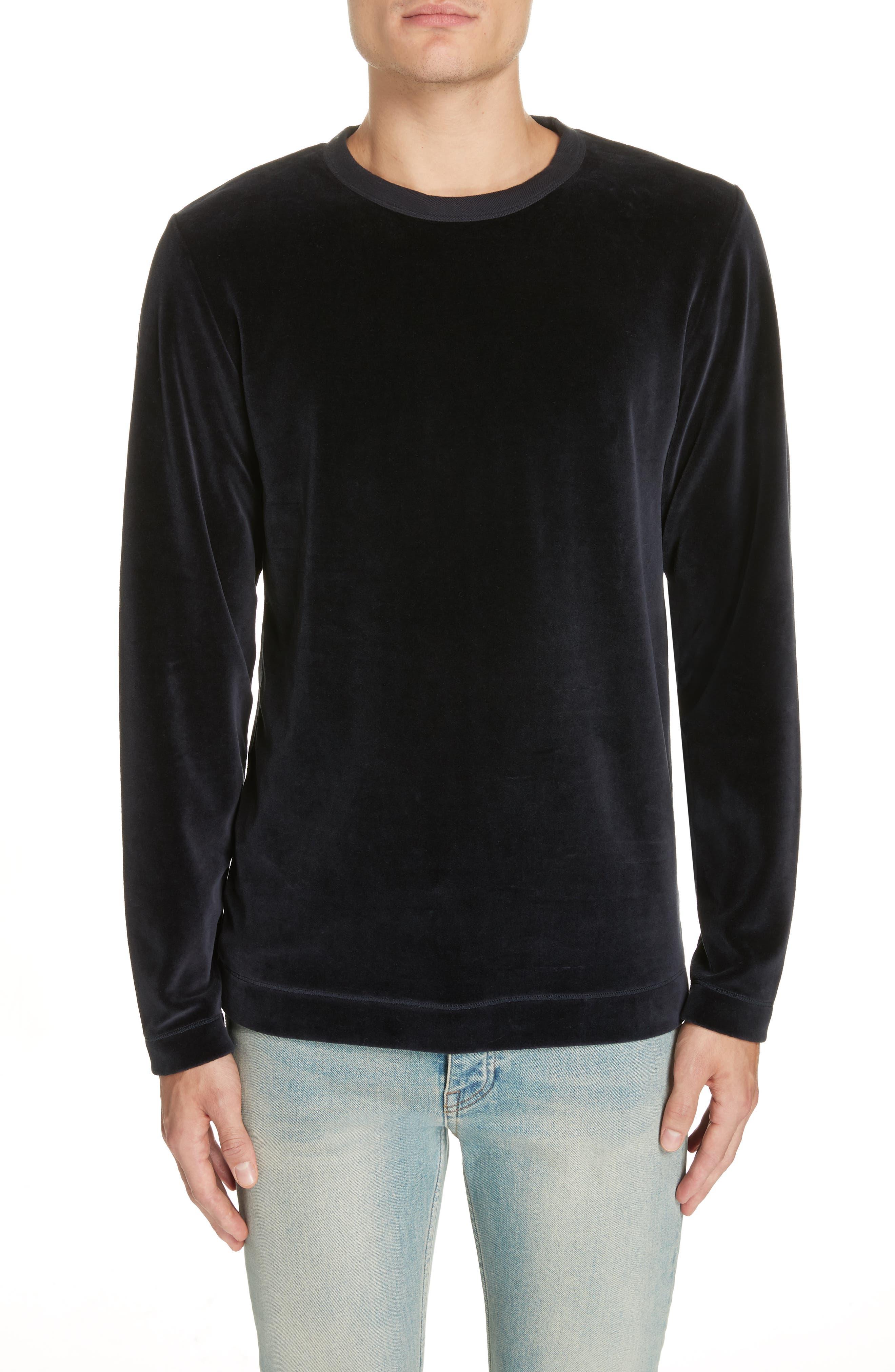 Velour Long Sleeve T-Shirt,                             Main thumbnail 1, color,                             NAVY VELOUR