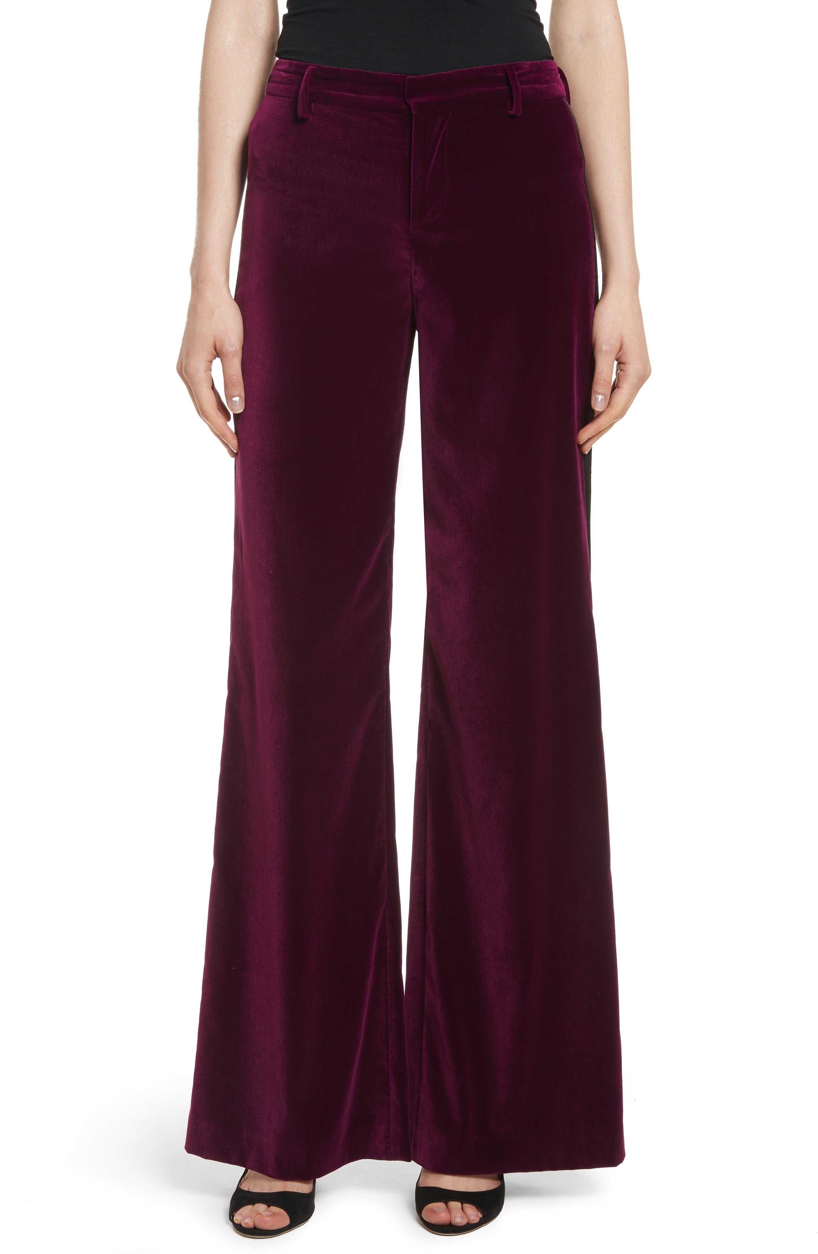 Paulette Velvet Tuxedo Pants,                         Main,                         color, 934