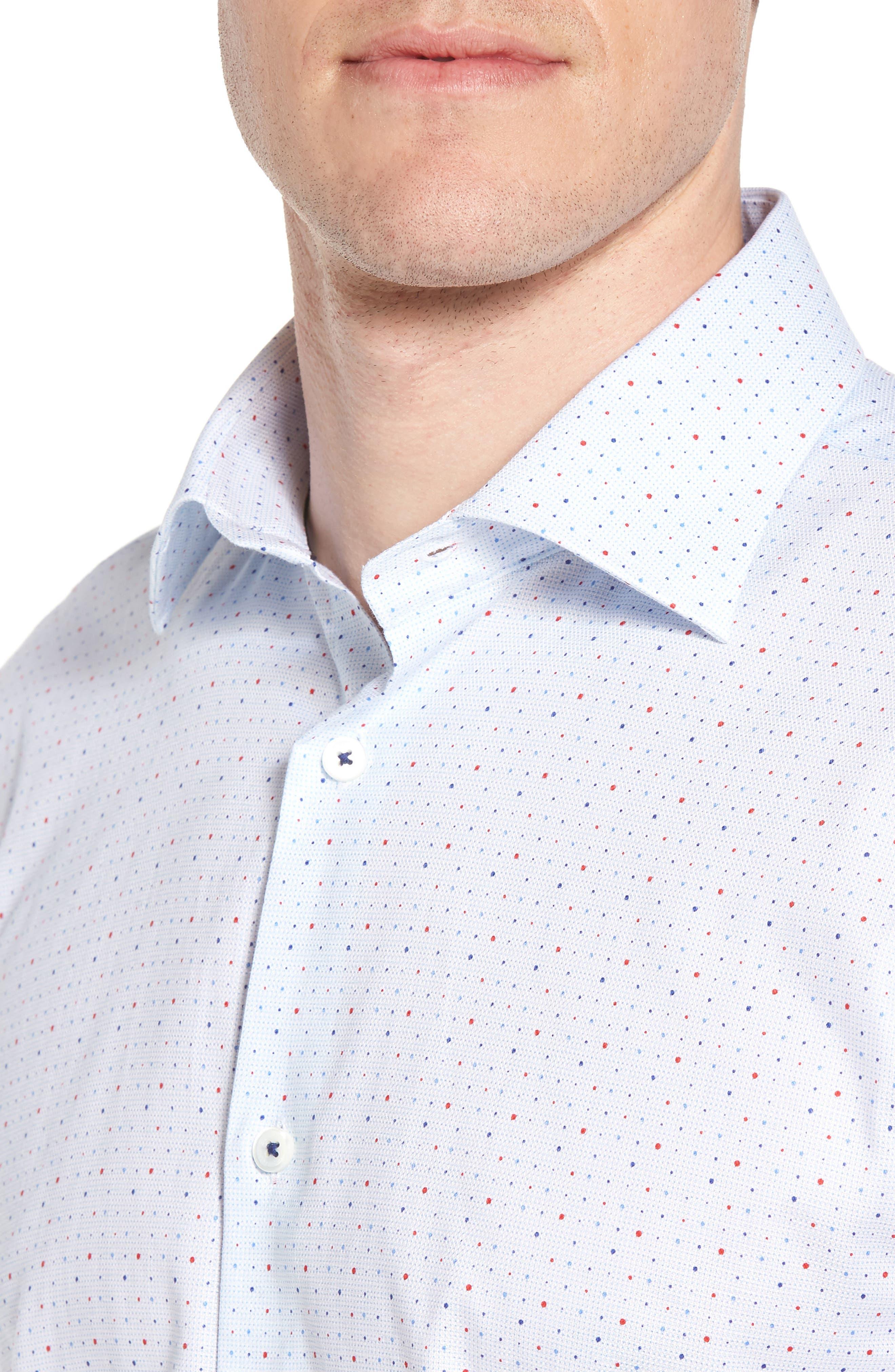 Trim Fit Dot Dress Shirt,                             Alternate thumbnail 2, color,                             ICE BLUE