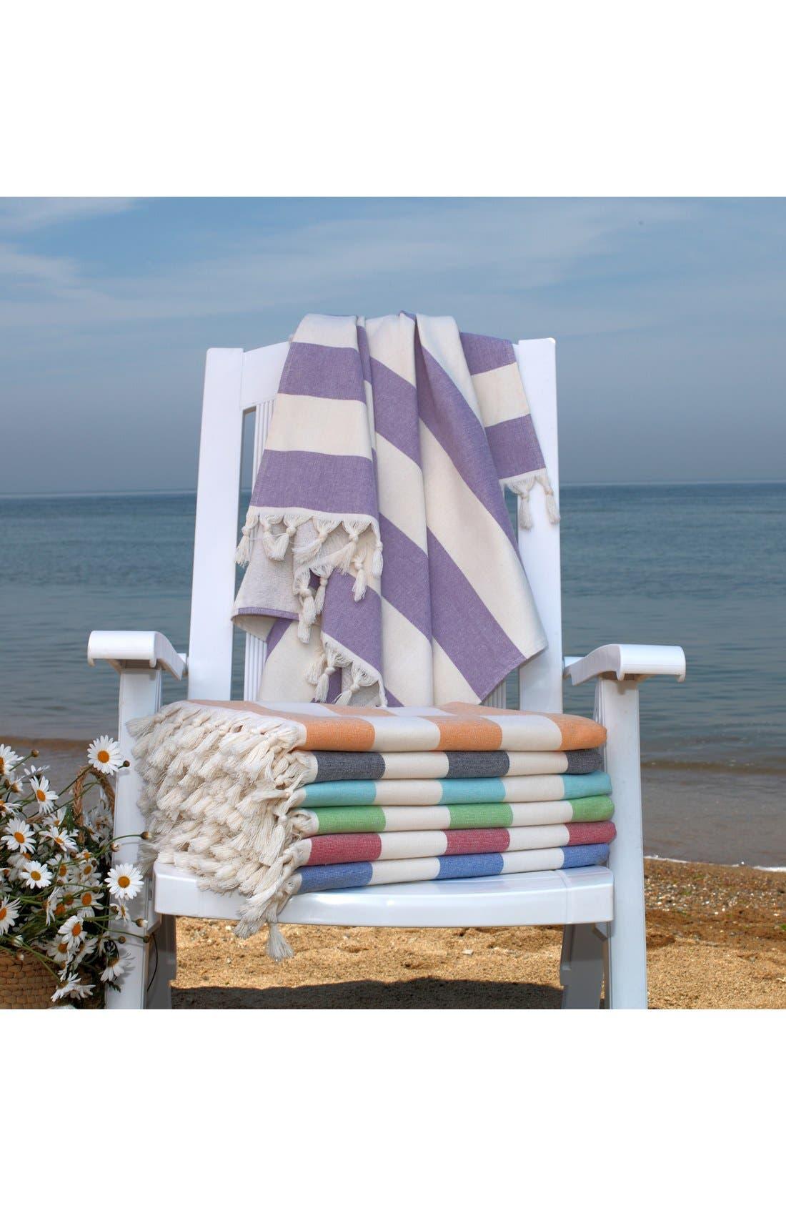 'Patara' Turkish Pestemal Towel,                             Alternate thumbnail 5, color,                             TURQUIOSE