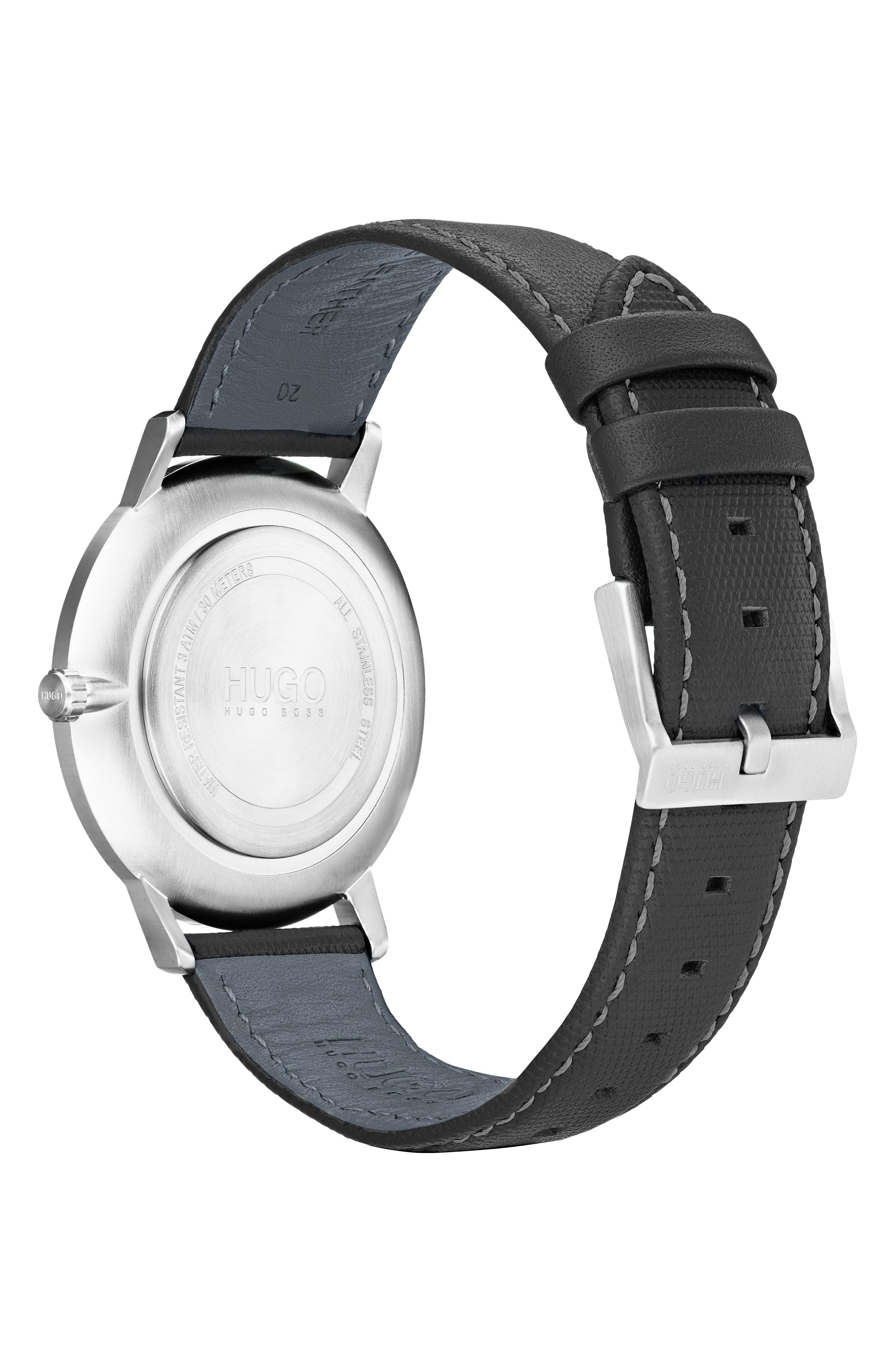 Exist Leather Strap Watch, 40mm,                             Alternate thumbnail 2, color,                             GREY