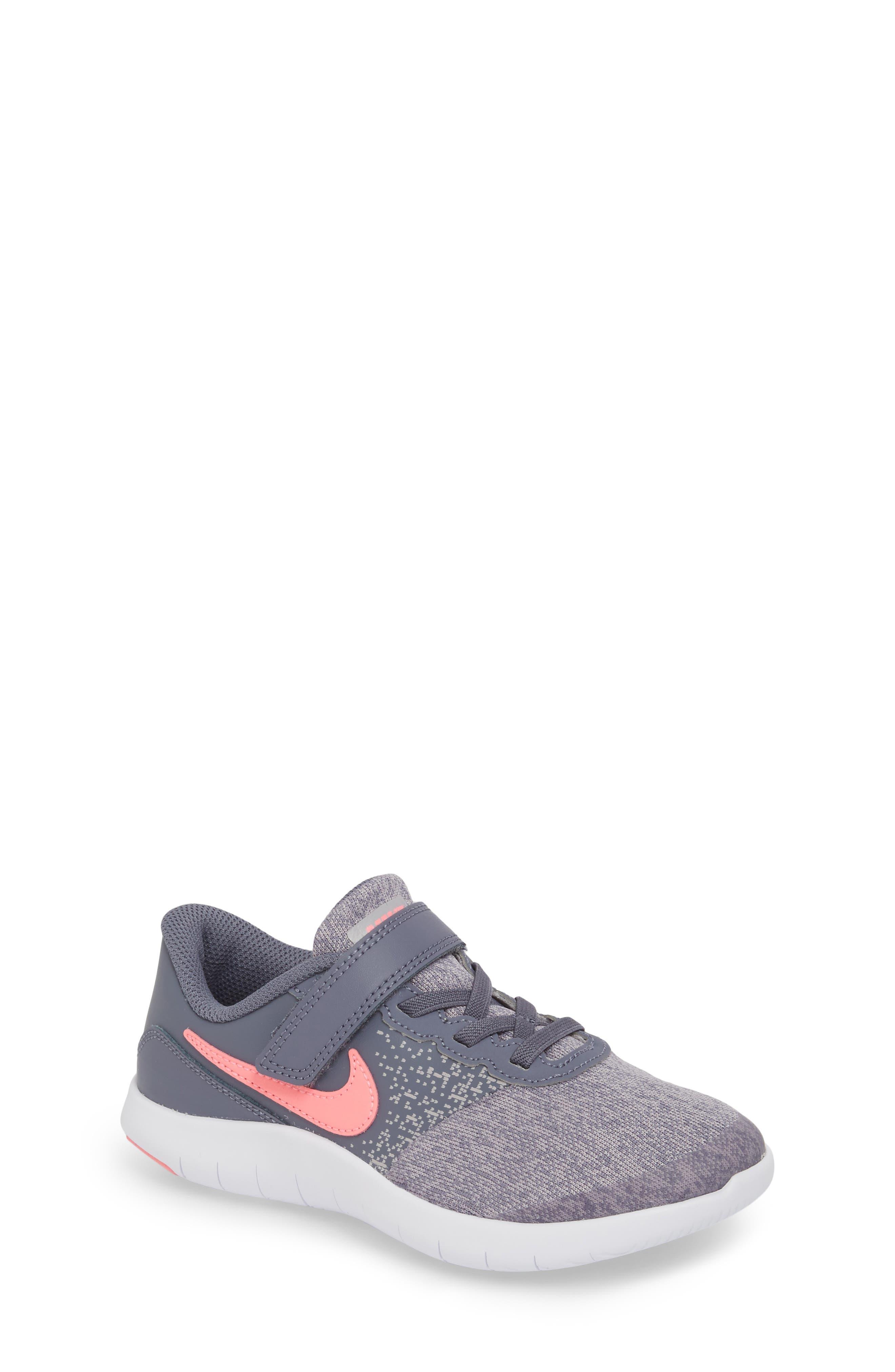 Flex Contact Running Shoe,                         Main,                         color, LIGHT CARBON/ SUNSET PULSE
