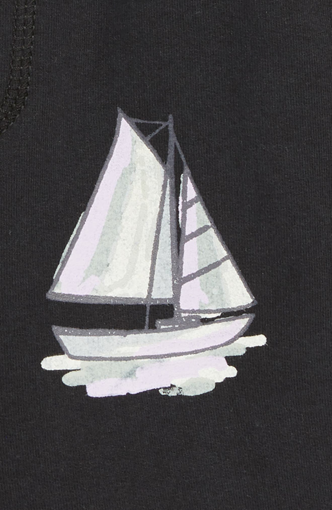 Sailboat Print Shorts,                             Alternate thumbnail 3, color,                             BLACK