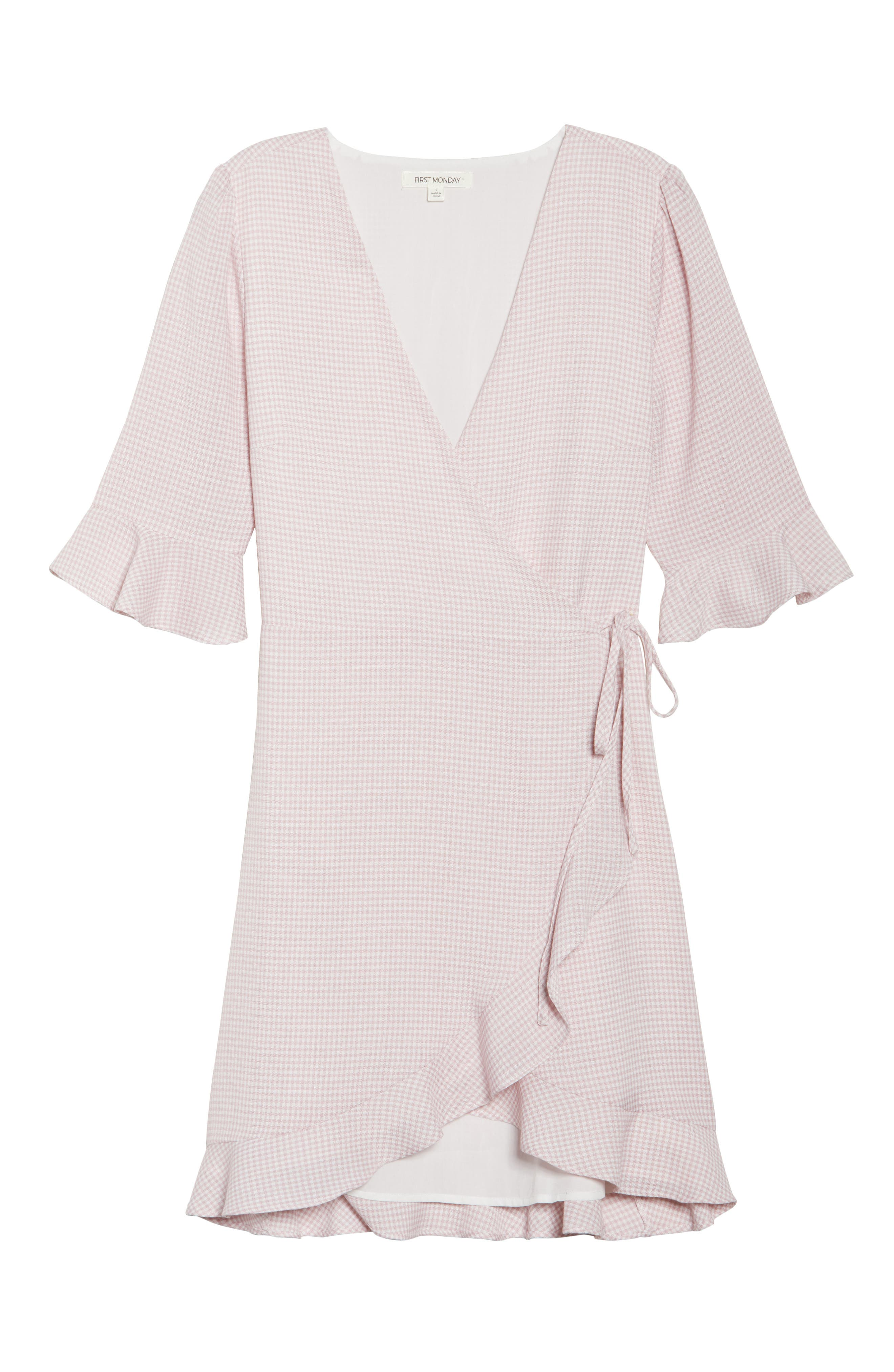 Gingham Wrap Dress,                             Alternate thumbnail 7, color,