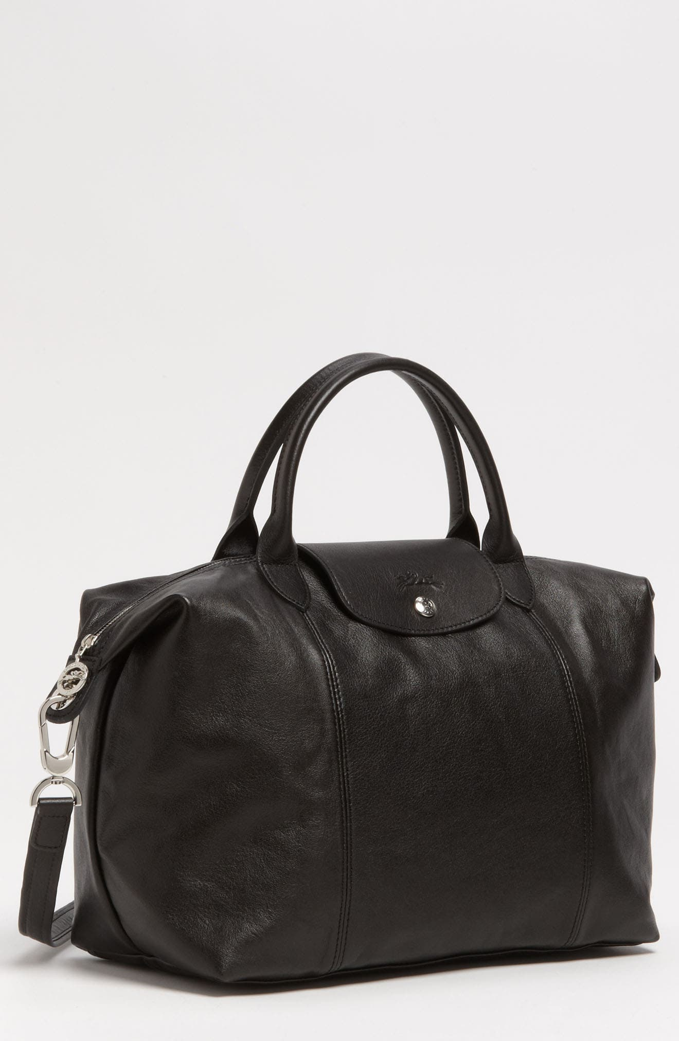 Medium 'Le Pliage Cuir' Leather Top Handle Tote,                             Alternate thumbnail 2, color,                             BLACK