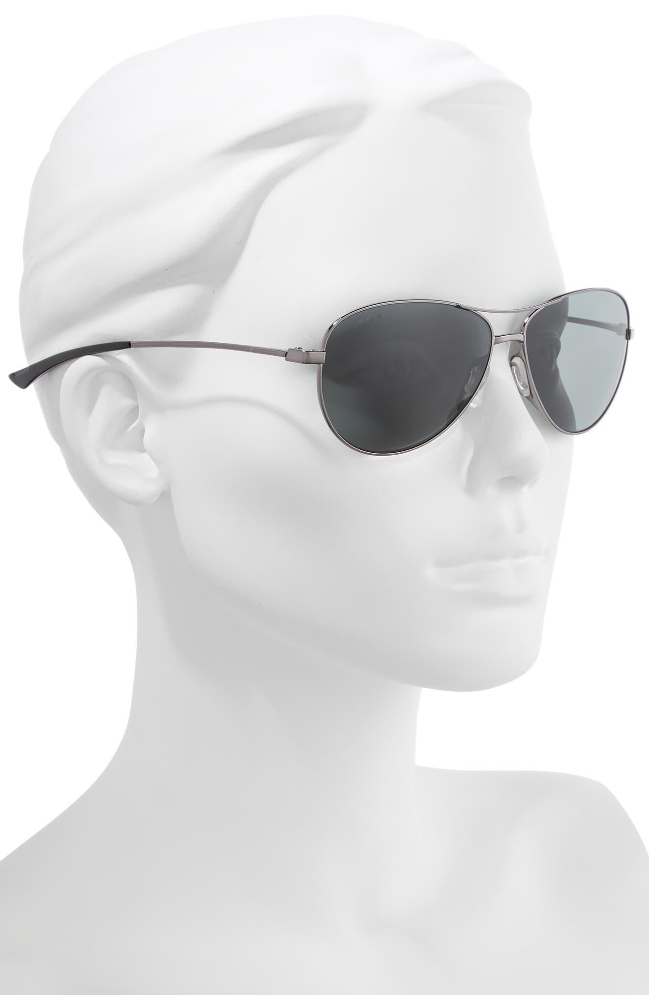 Langley 60mm ChromaPop<sup>™</sup> Polarized Aviator Sunglasses,                             Alternate thumbnail 2, color,                             DARK RUTHENIUM/ GREY