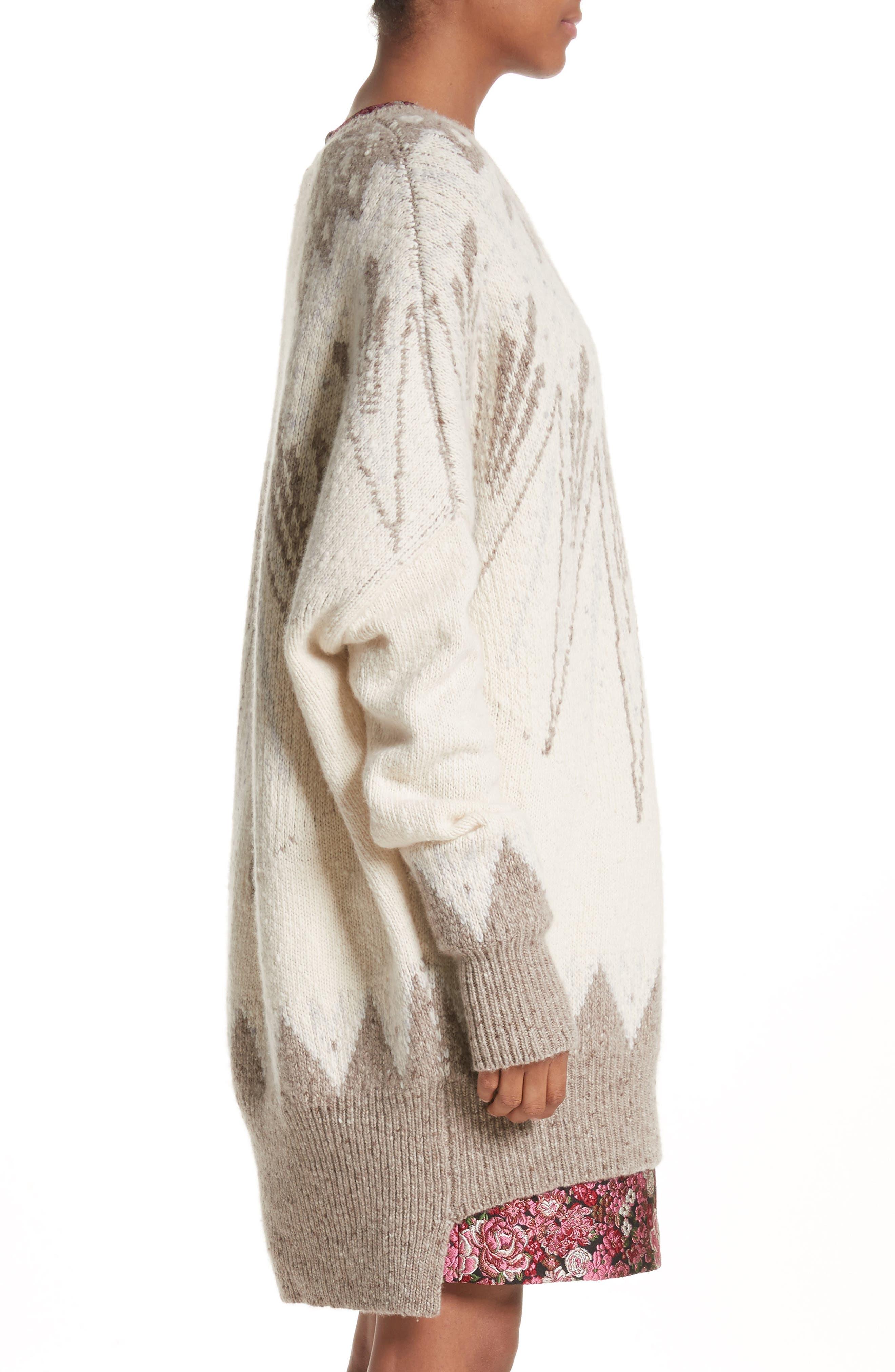 Marled Merino Wool & Cashmere Fair Isle Sweater,                             Alternate thumbnail 3, color,                             900