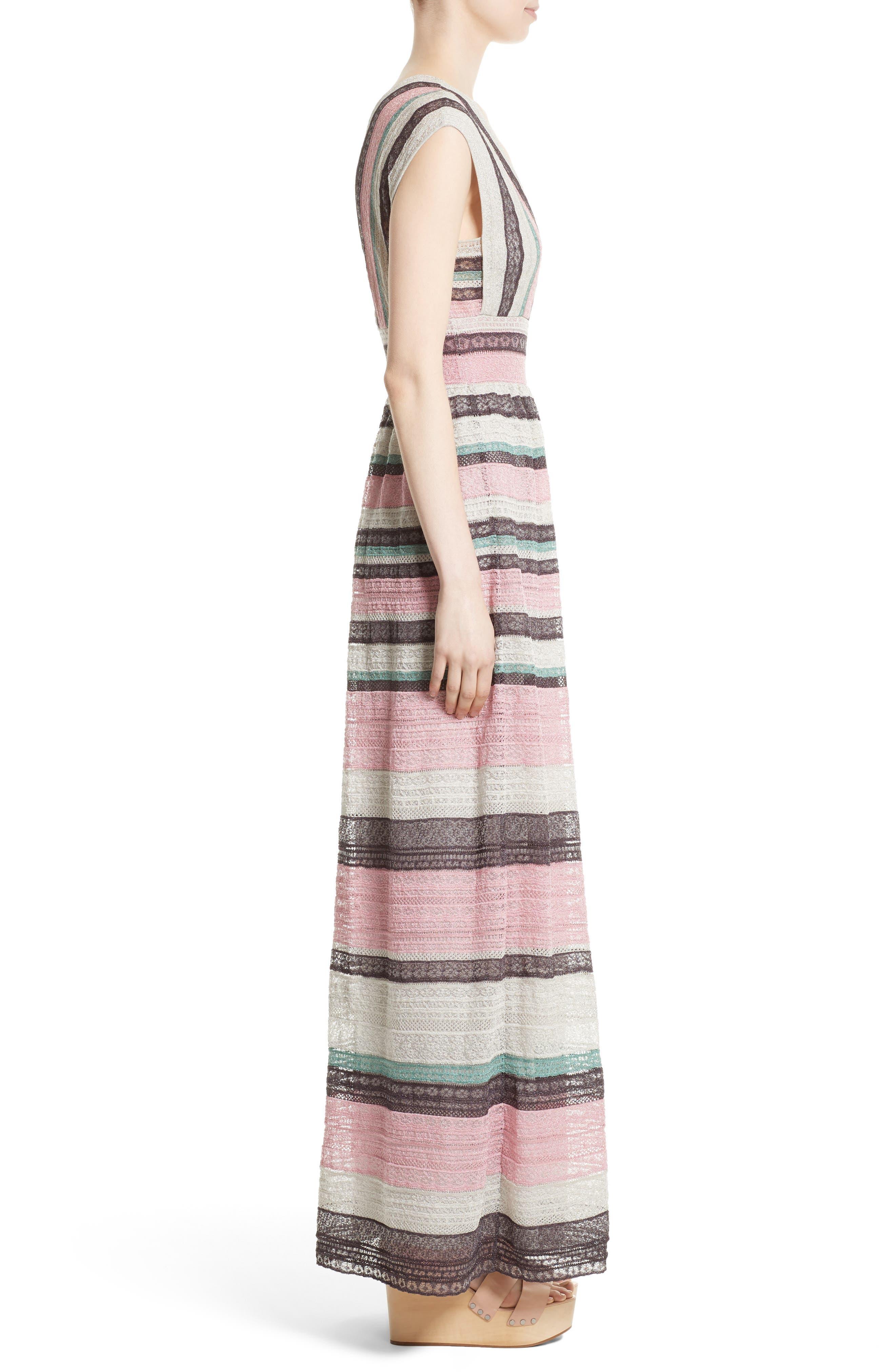 Lace Stripe Maxi Dress,                             Alternate thumbnail 3, color,                             664