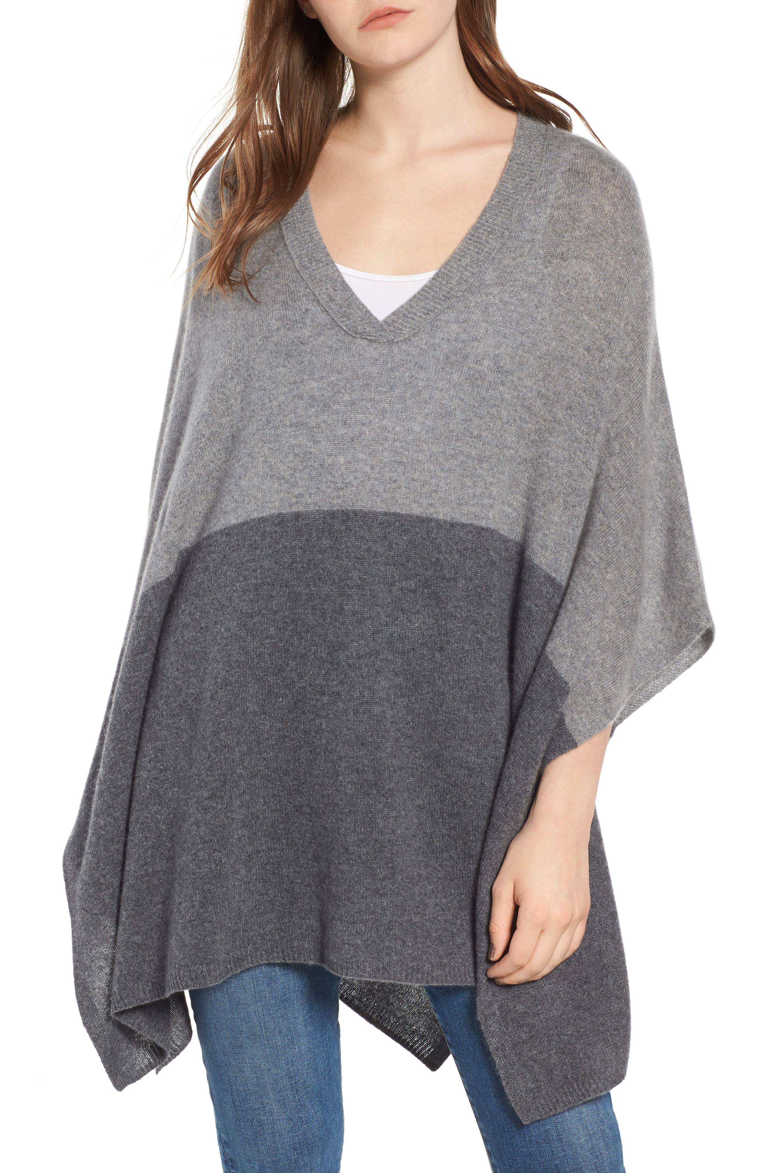 Colorblock Cashmere Poncho,                         Main,                         color, 030