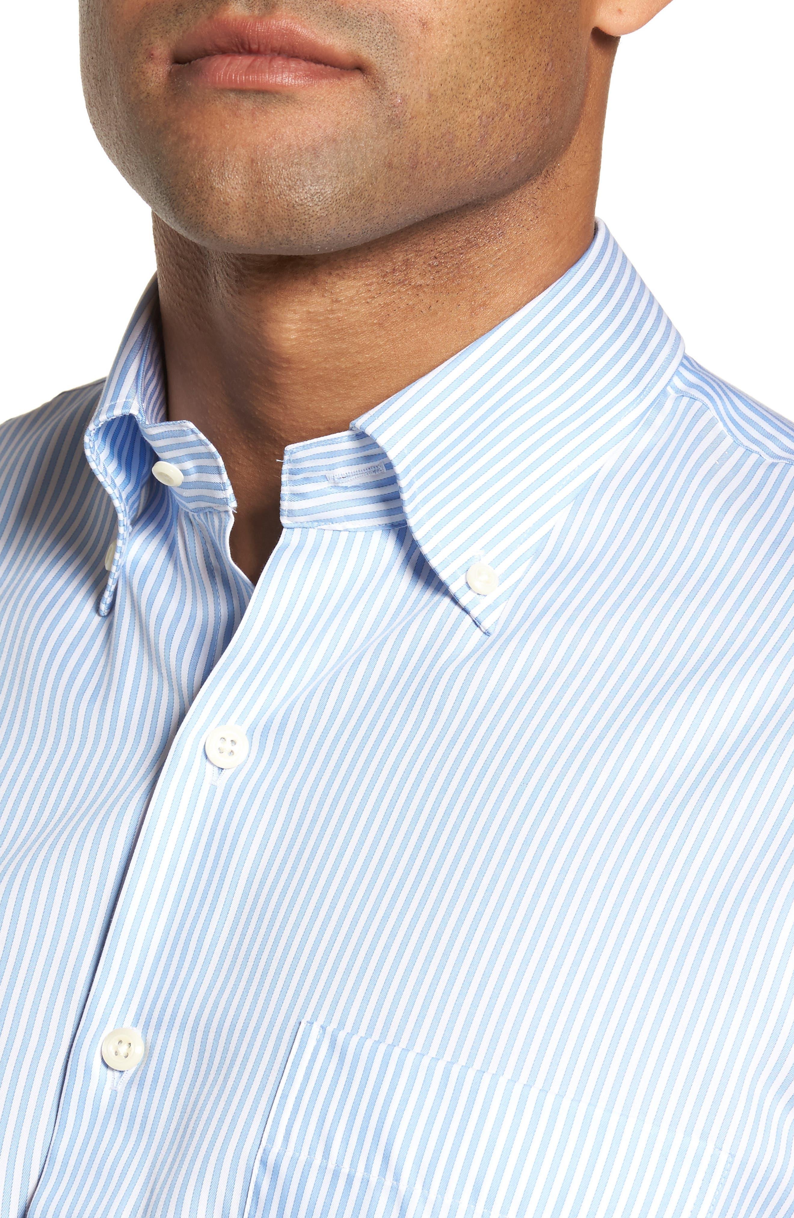 Classic Fit Crown Soft Longshot Stripe Sport Shirt,                             Alternate thumbnail 4, color,                             439
