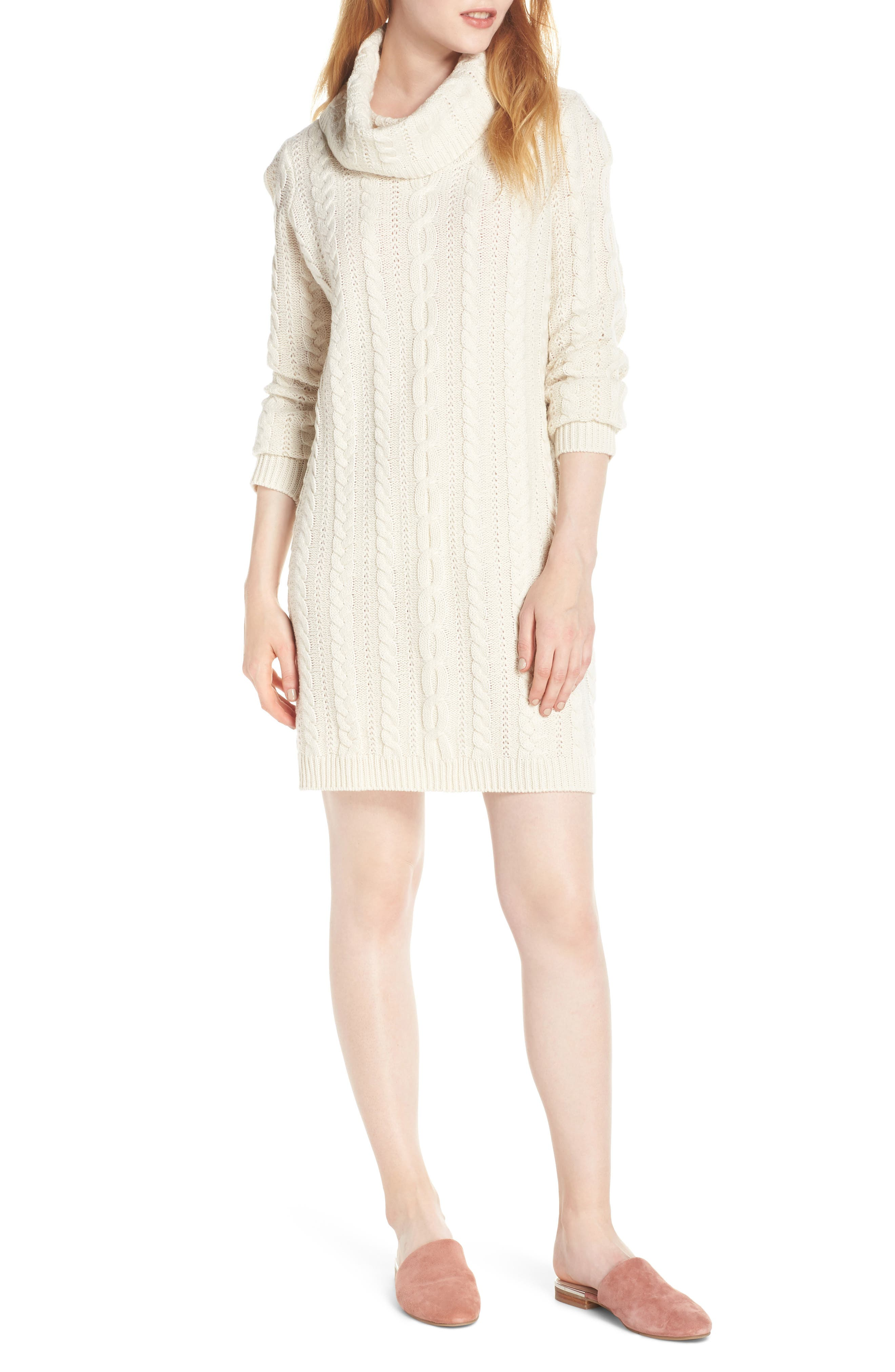 Bb Dakota Cowl Neck Cable Sweater Dress