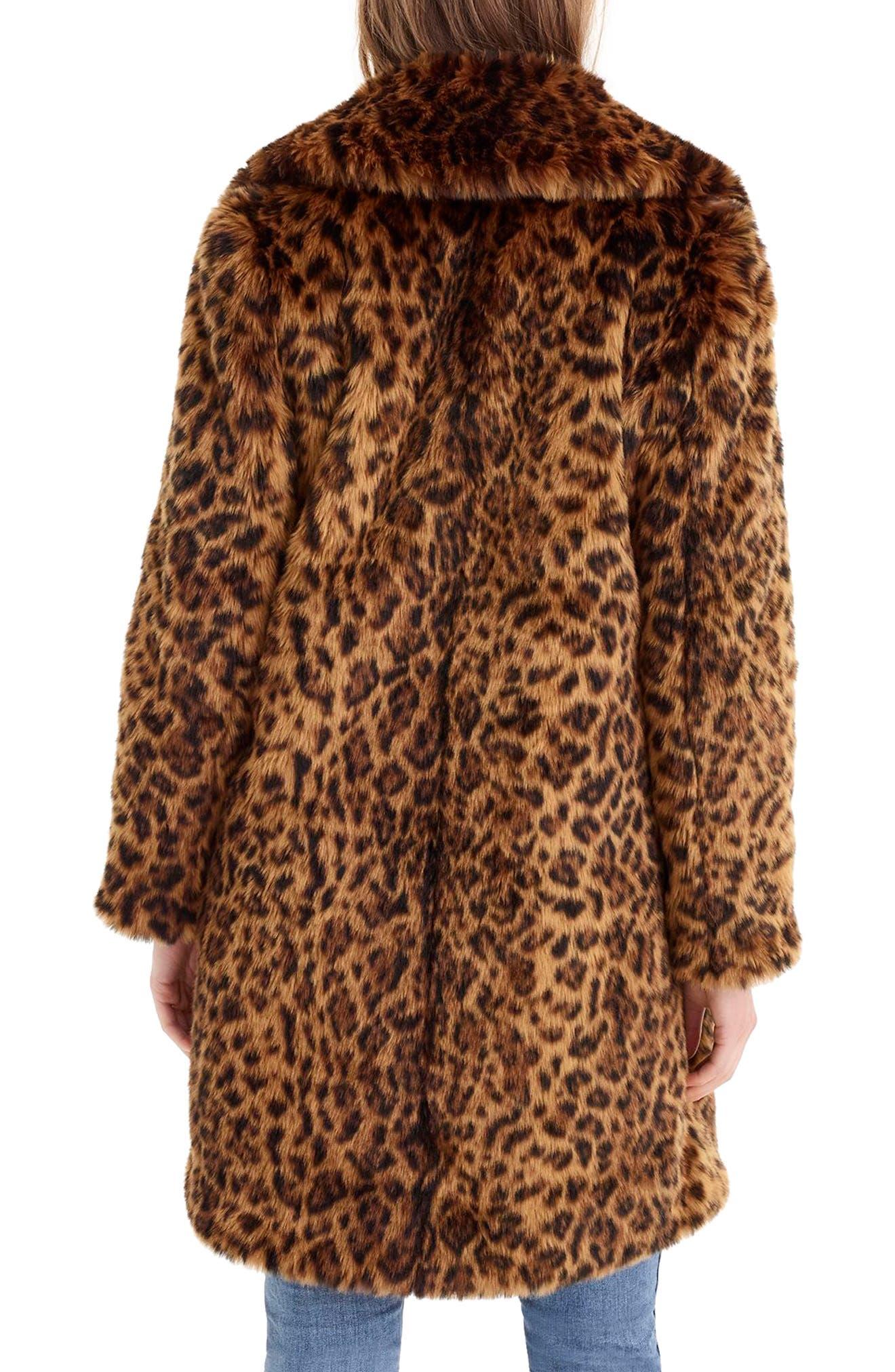 Leopard Print Faux Fur Coat,                             Alternate thumbnail 2, color,                             LEOPARD