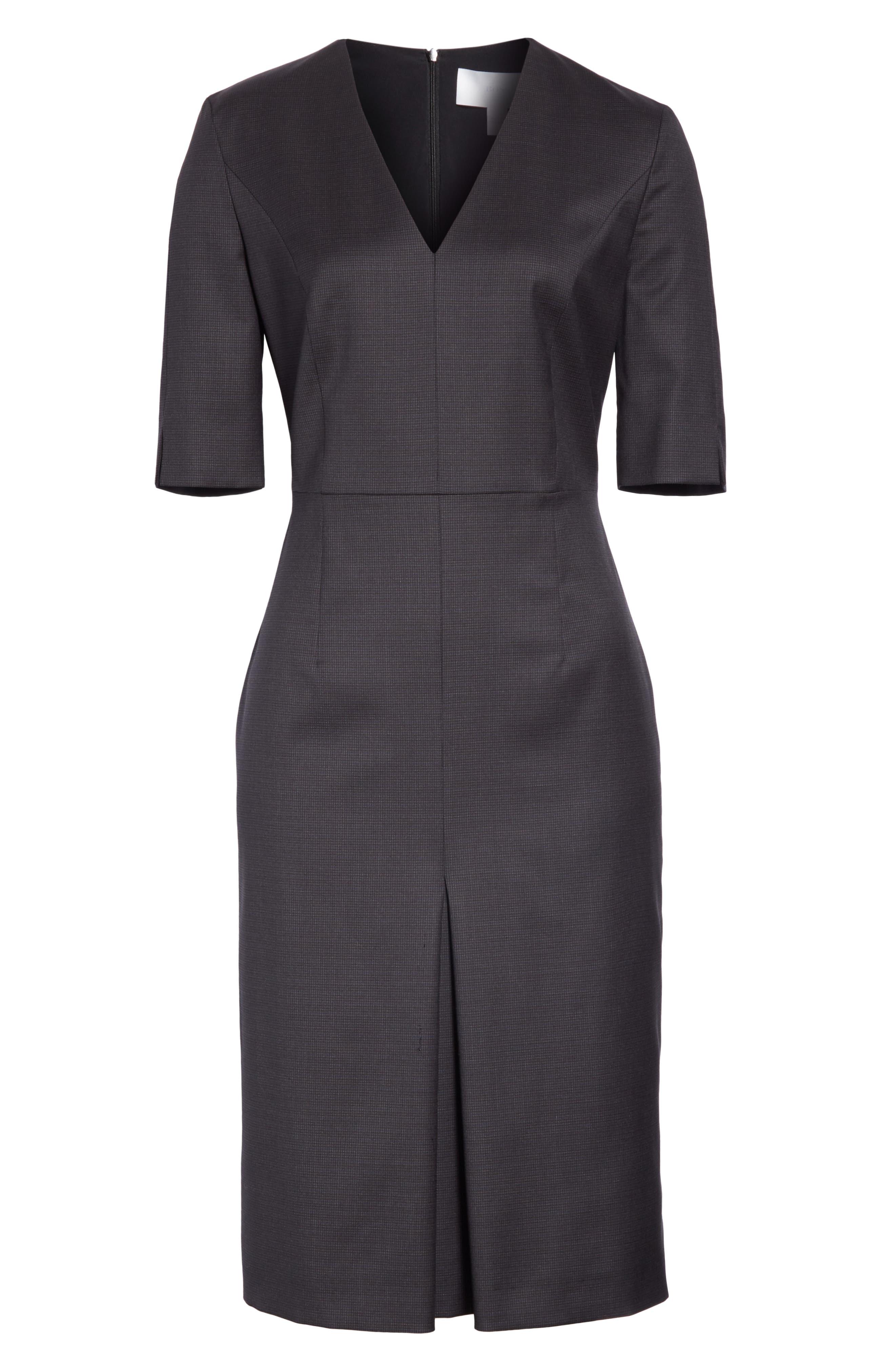 BOSS,                             Dalissa Pepita Wool Dress,                             Alternate thumbnail 7, color,                             BLACK FANTASY