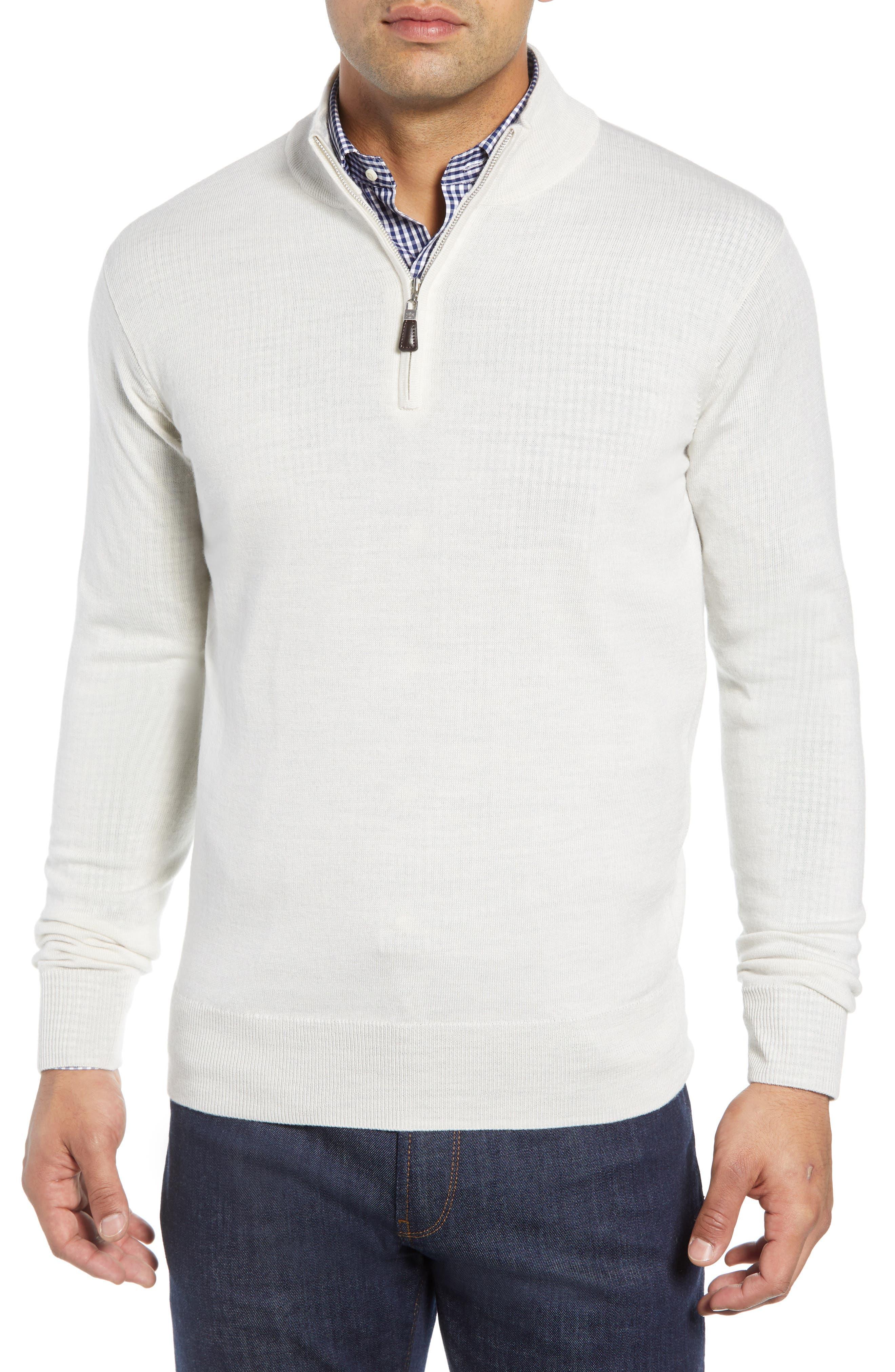 Crown Soft Regular Fit Wool Blend Quarter Zip Sweater,                         Main,                         color, WHITE