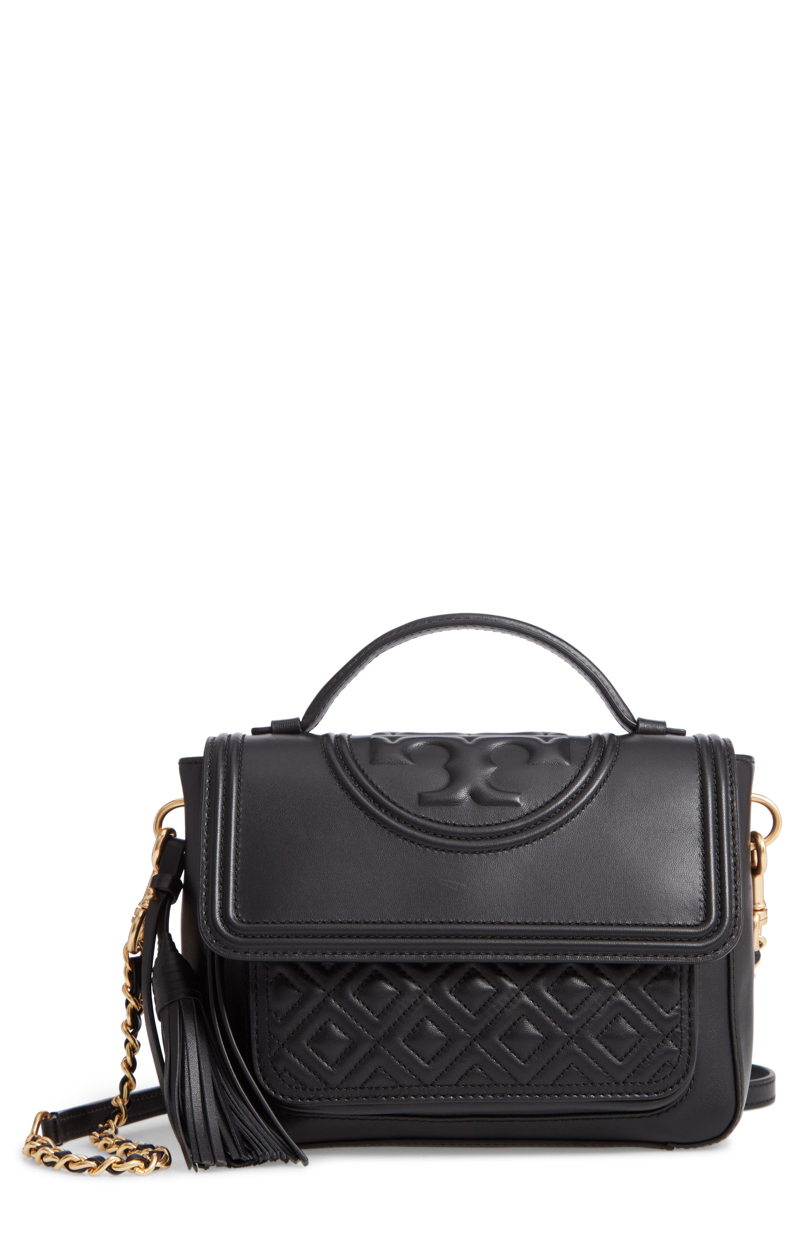 TORY BURCH Fleming Quilted Leather Top Handle Satchel, Main, color, BLACK