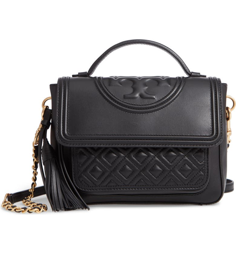 844ec01cc7ae Tory Burch Fleming Quilted Leather Top Handle Satchel - Black ...