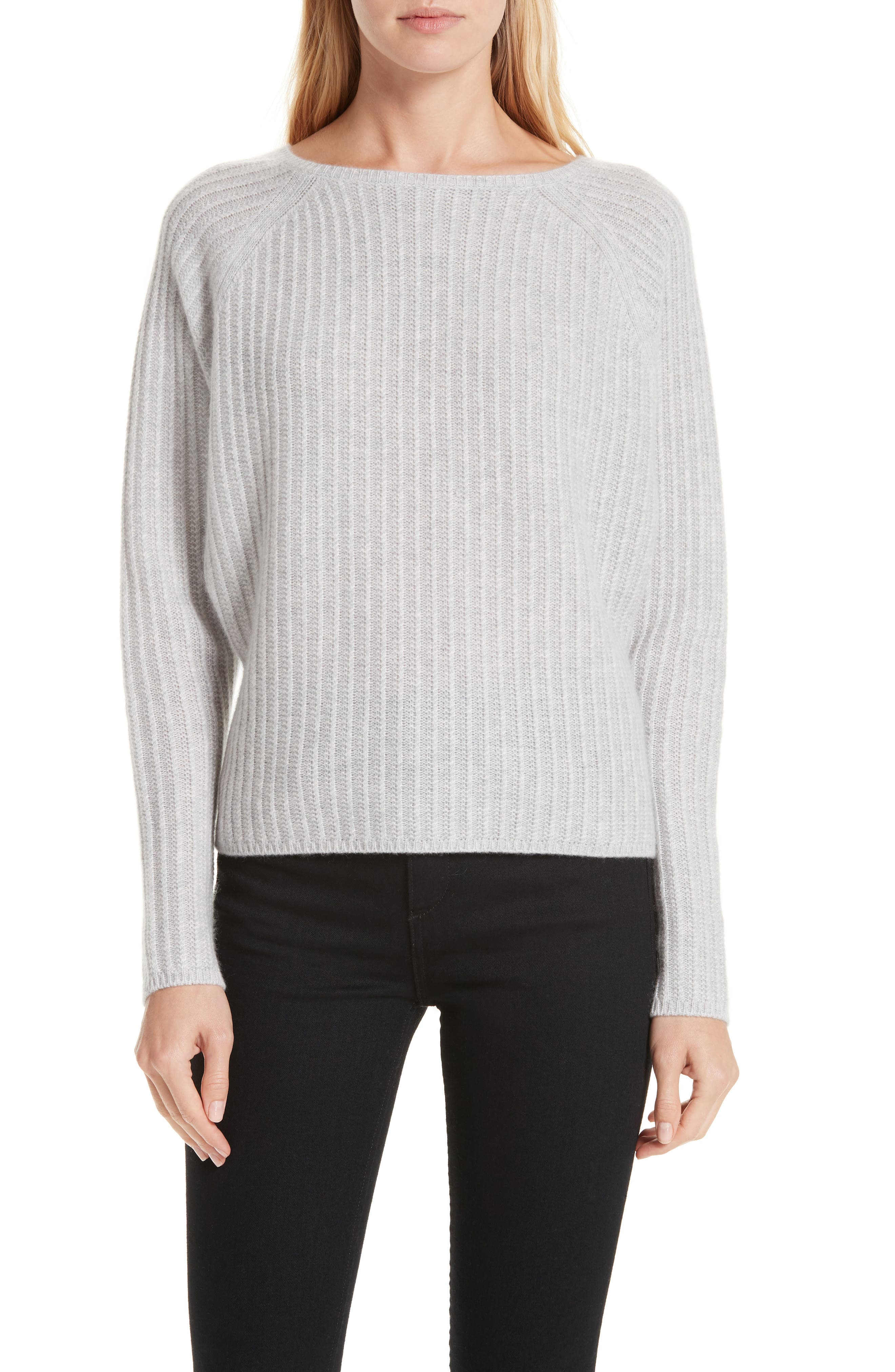Textured Cashmere Sweater,                             Main thumbnail 1, color,                             GREY CLAY HEATHER