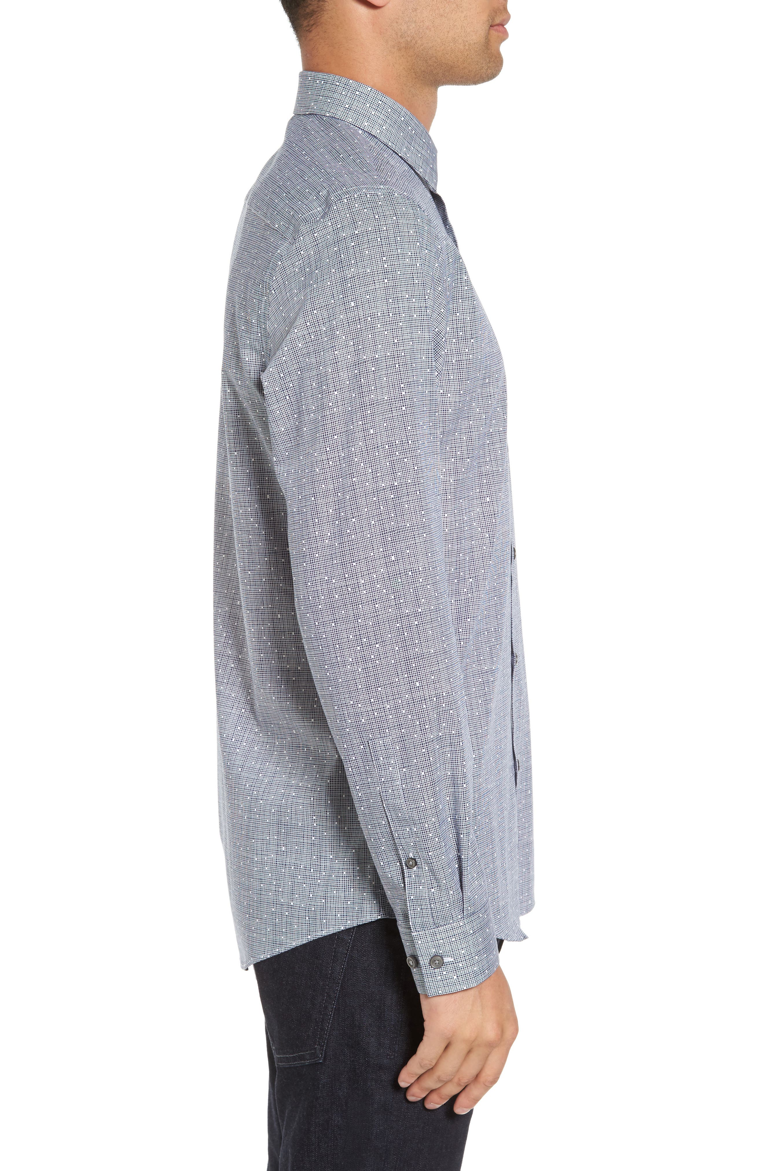 Slim Fit No-Iron Print Sport Shirt,                             Alternate thumbnail 3, color,