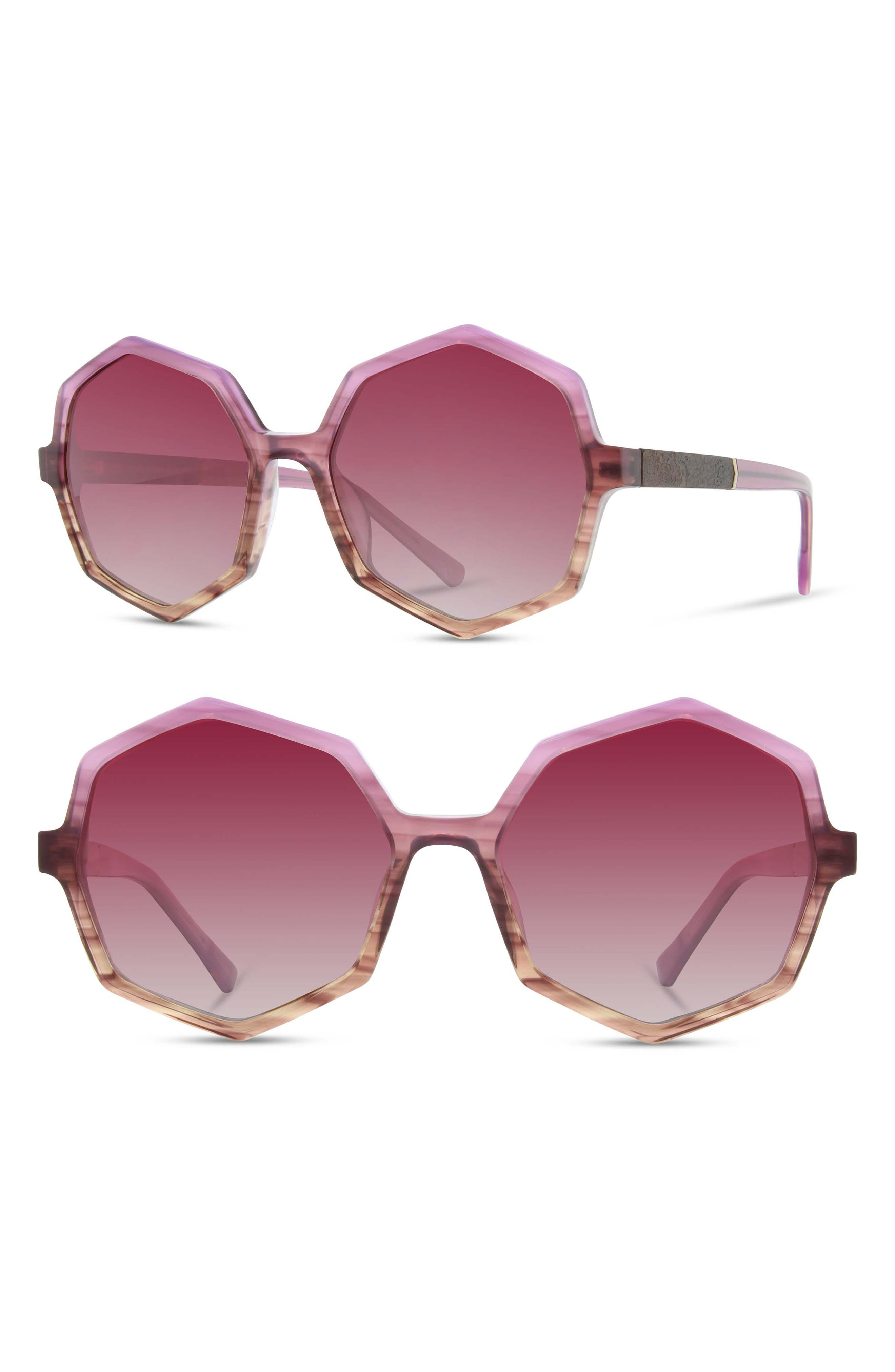 SHWOOD Aurora 57Mm Sunglasses - Lavender/ Elm Burl/ Rose Fade