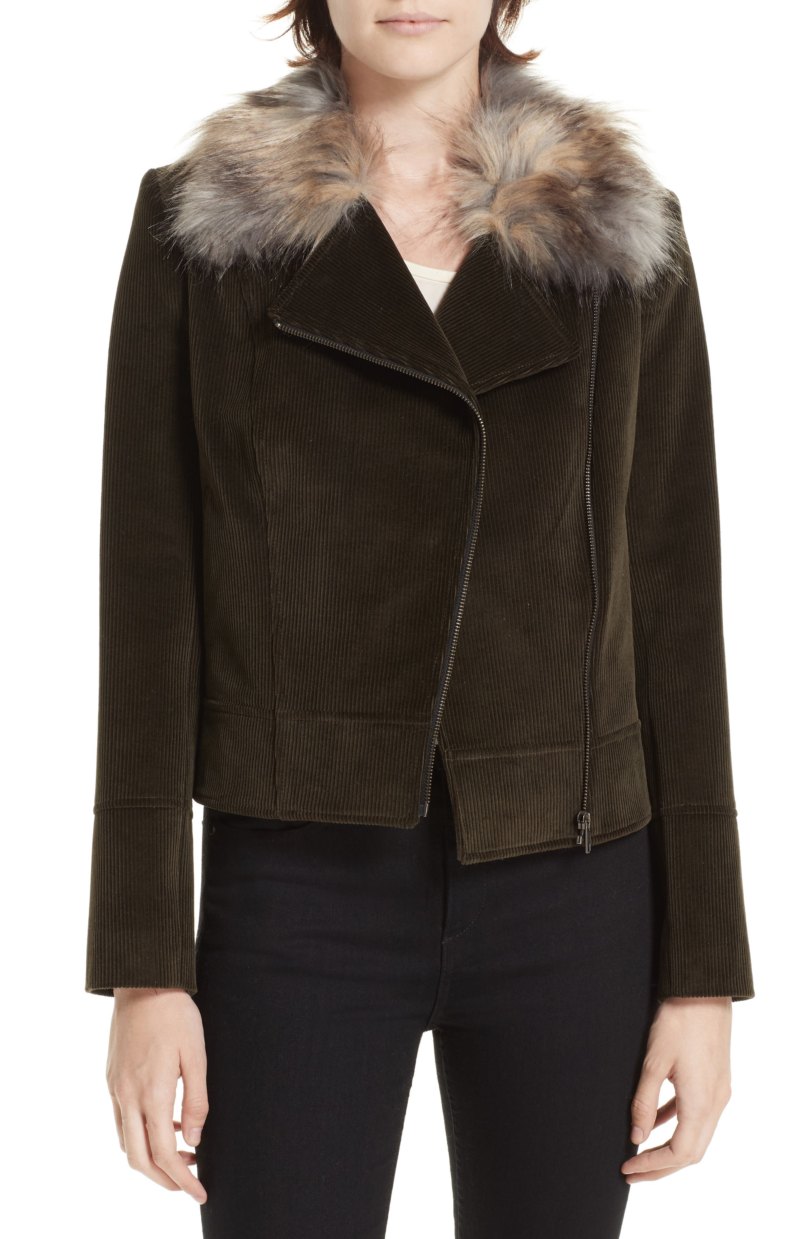 HELENE BERMAN Faux Fur Collar Biker Jacket in Olive Erable