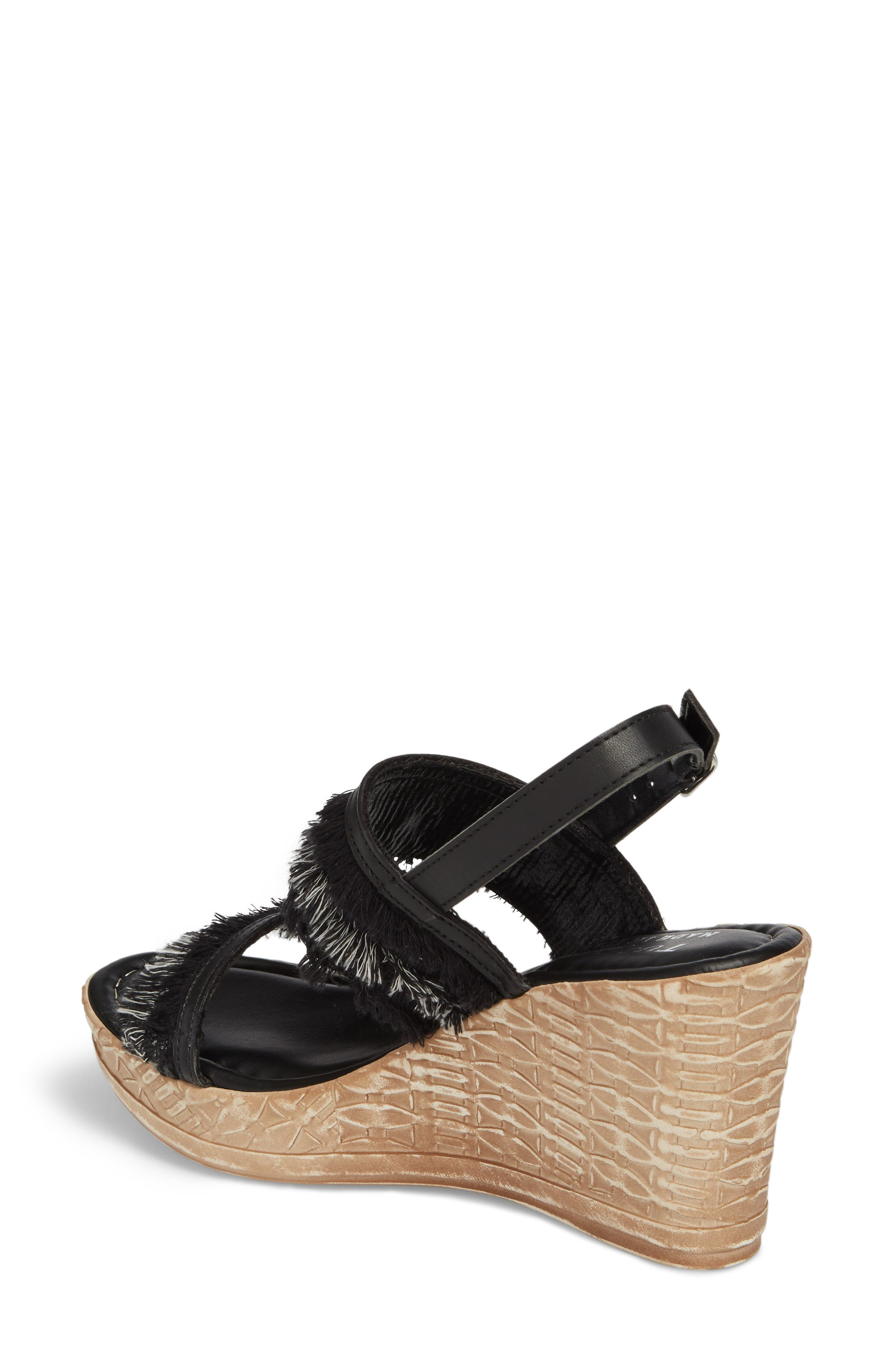 by Easy Street<sup>®</sup> Zaira Wedge Espadrille Sandal,                             Alternate thumbnail 2, color,                             BLACK FAUX LEATHER