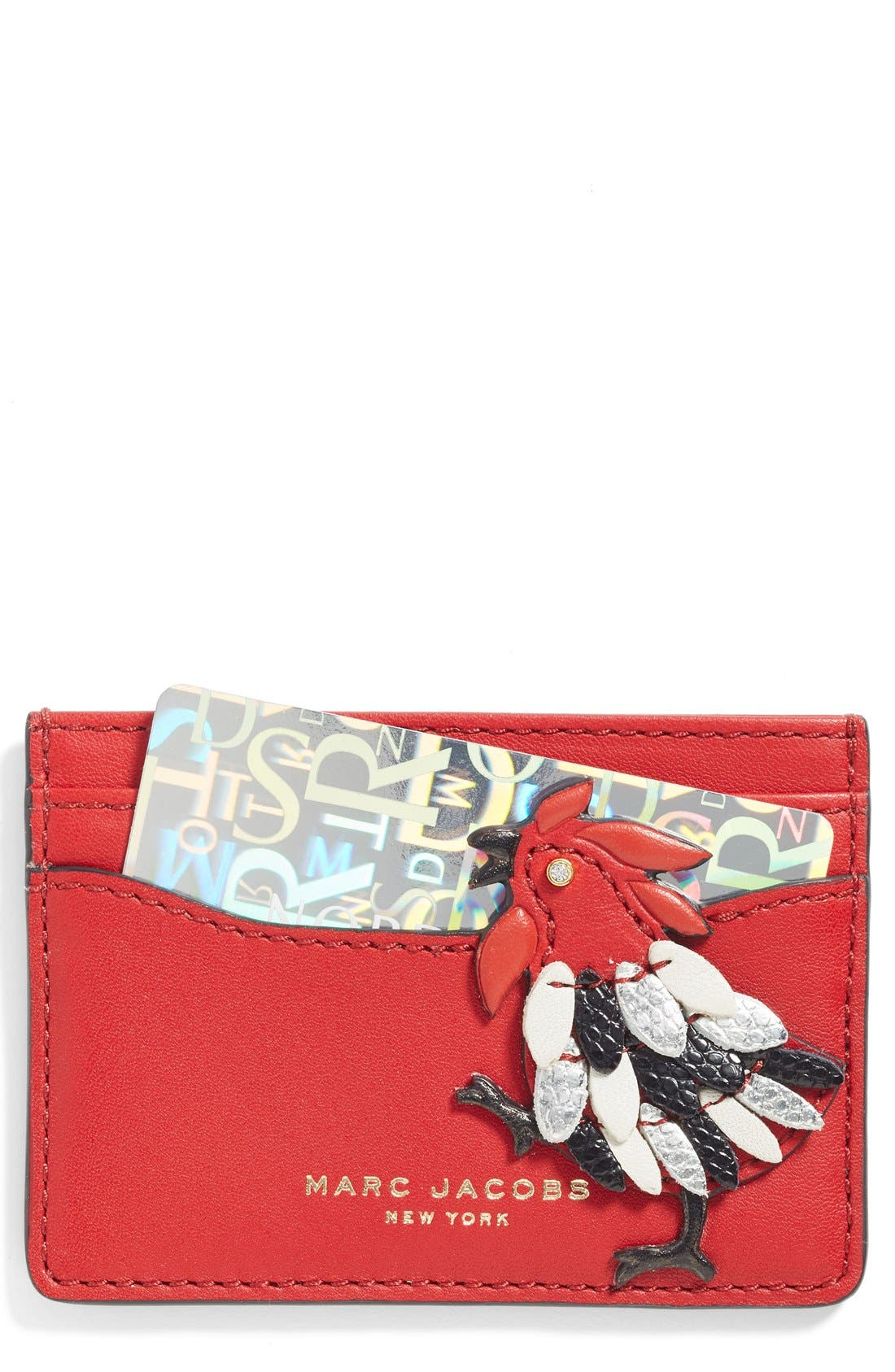 Rooster Leather Card Case,                             Main thumbnail 1, color,                             647