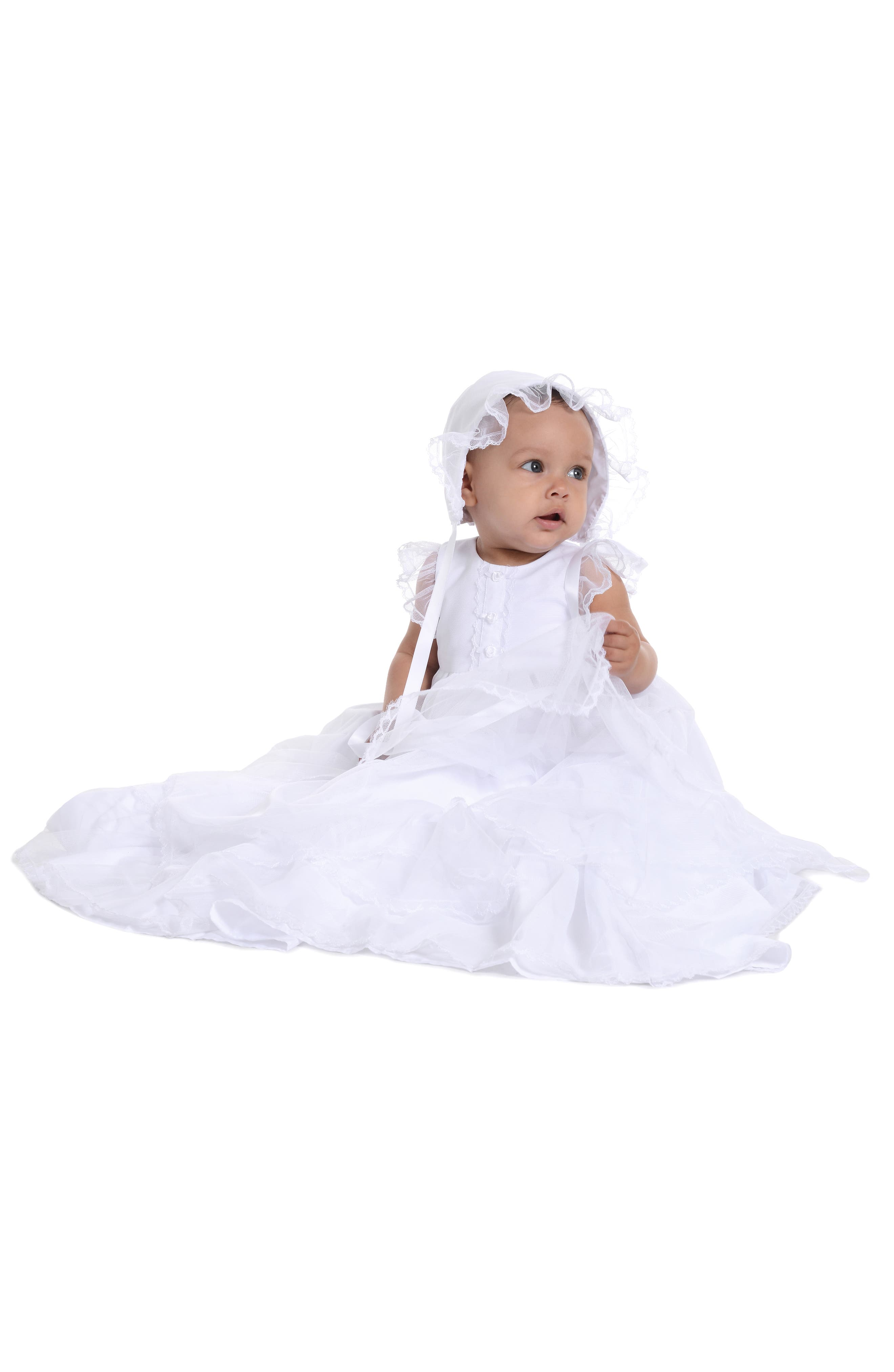 Christening Gown & Bonnet,                             Alternate thumbnail 2, color,                             WHITE