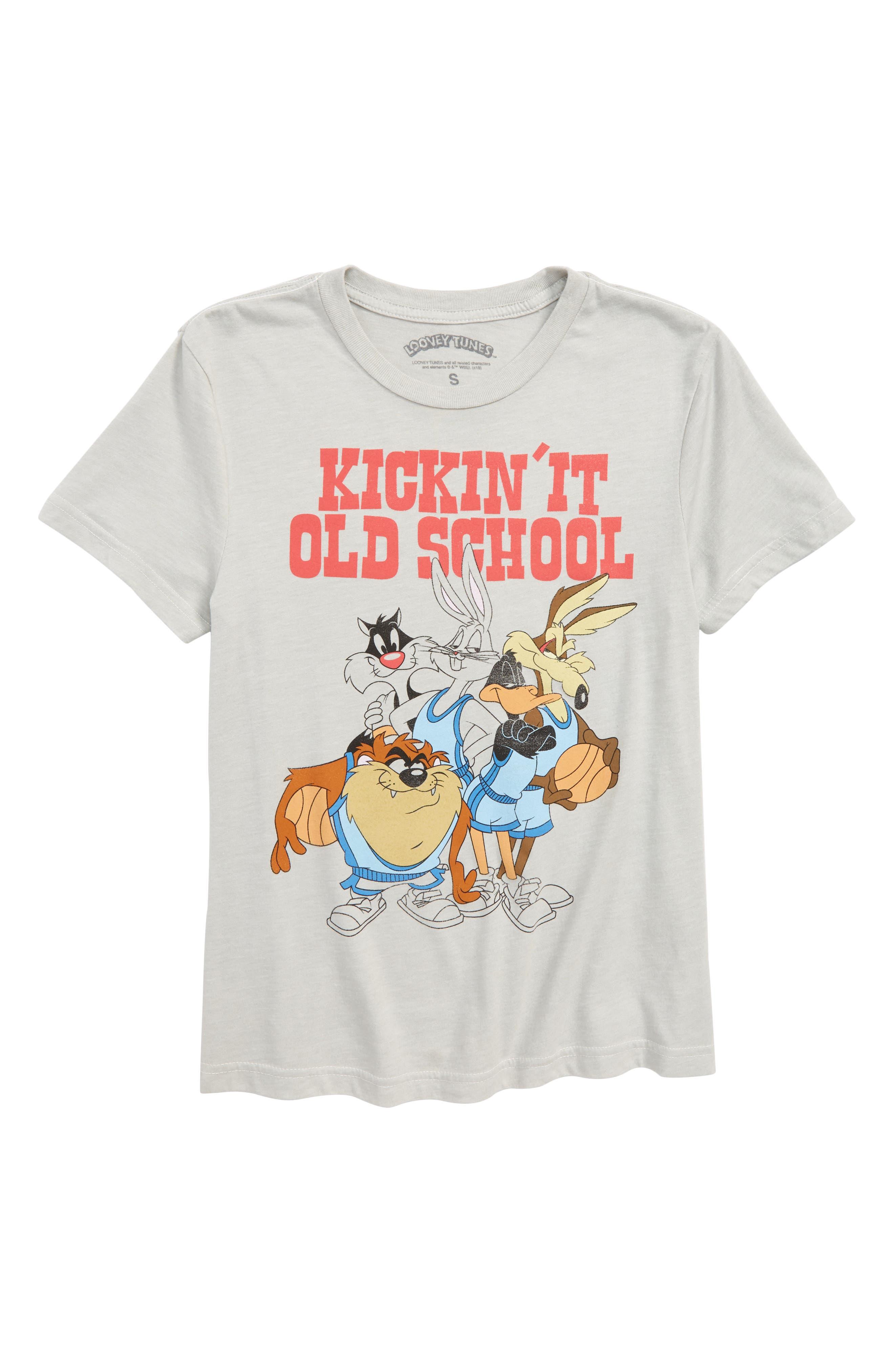 Looney Tunes Kickin' It Graphic T-Shirt,                             Main thumbnail 1, color,                             GREY