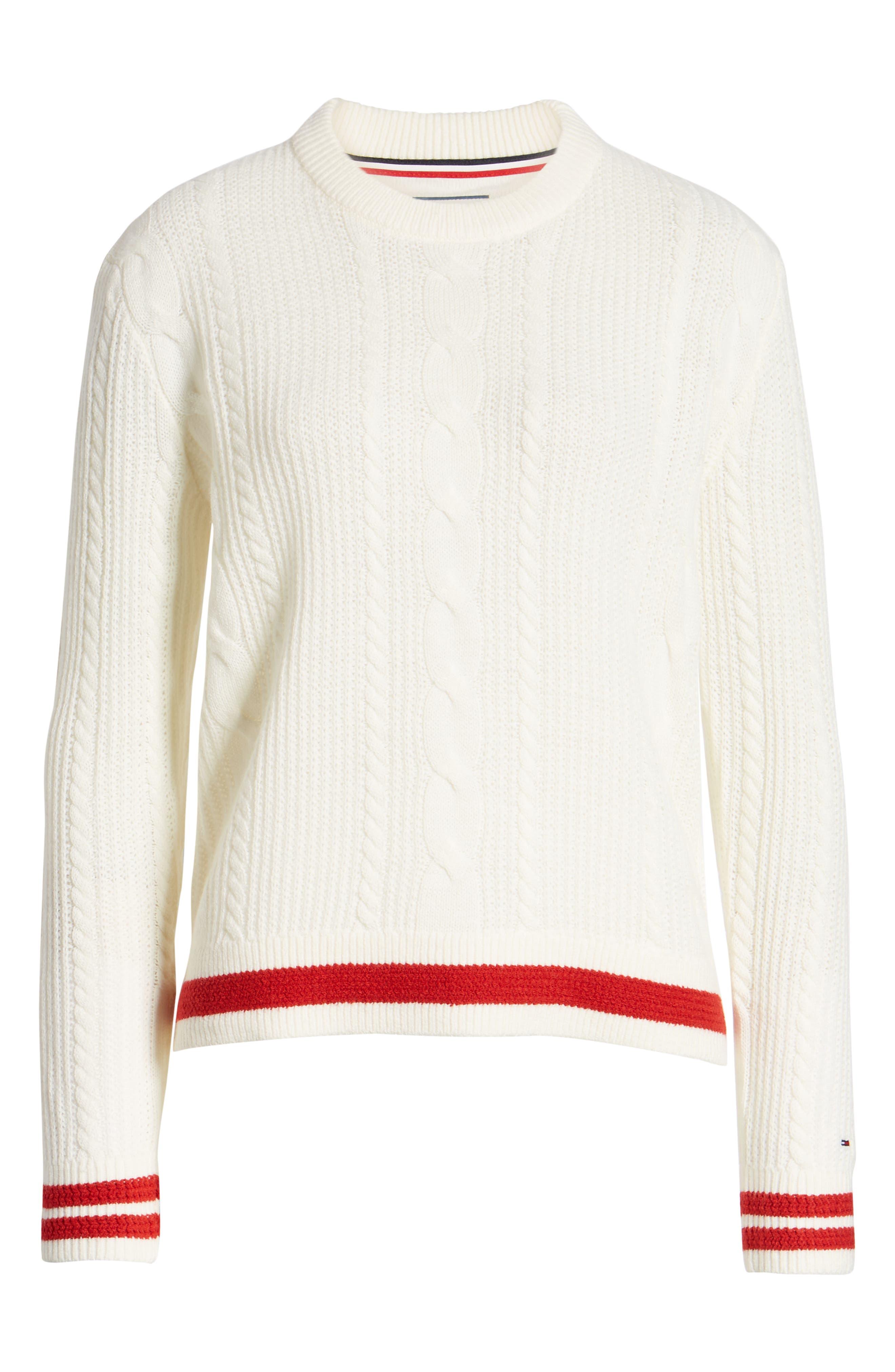 TJW Cable Knit Sweater,                             Alternate thumbnail 6, color,                             CLOUD DANCER