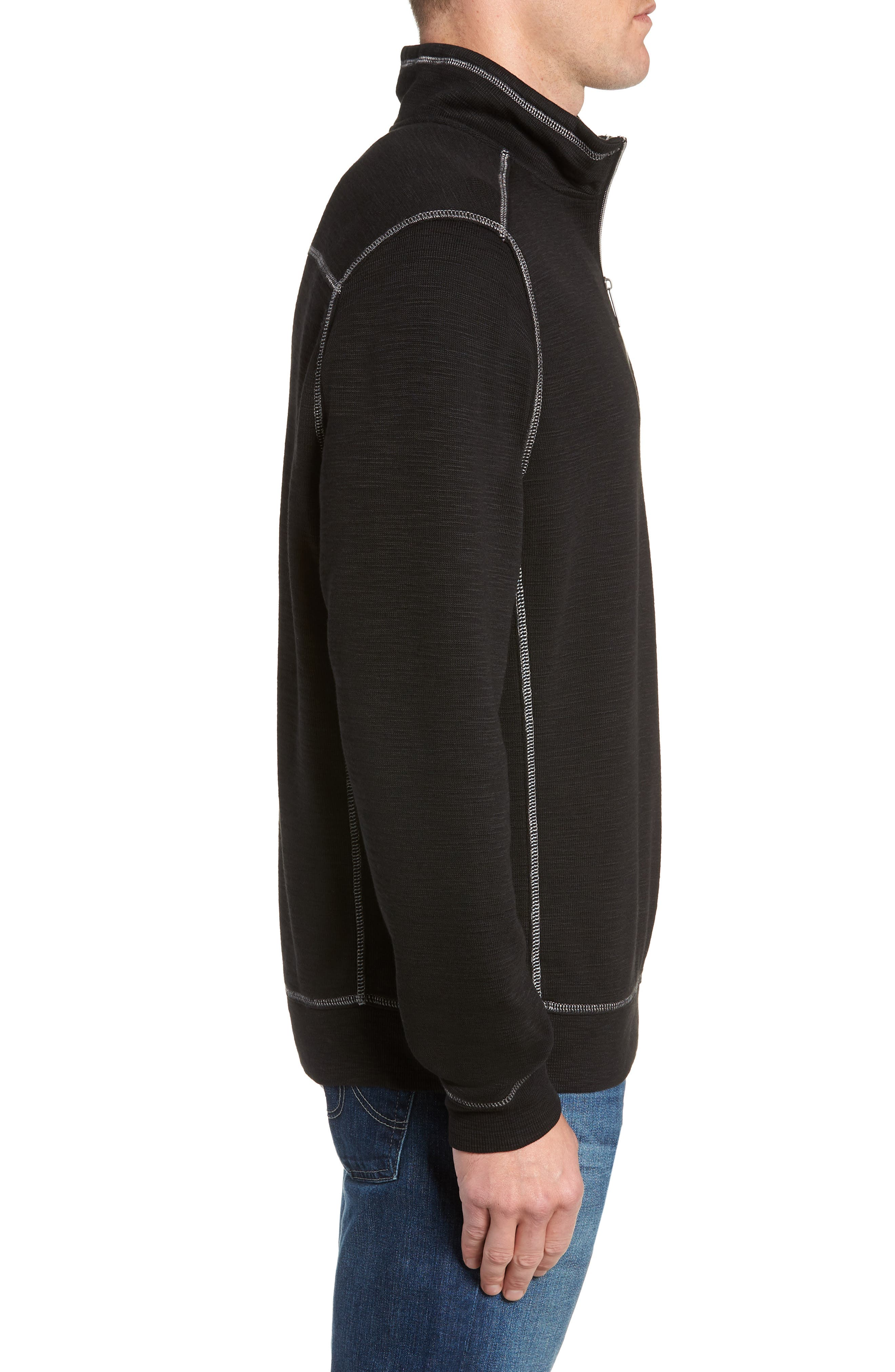 Tobago Half Zip Pullover,                             Alternate thumbnail 3, color,                             BLACK
