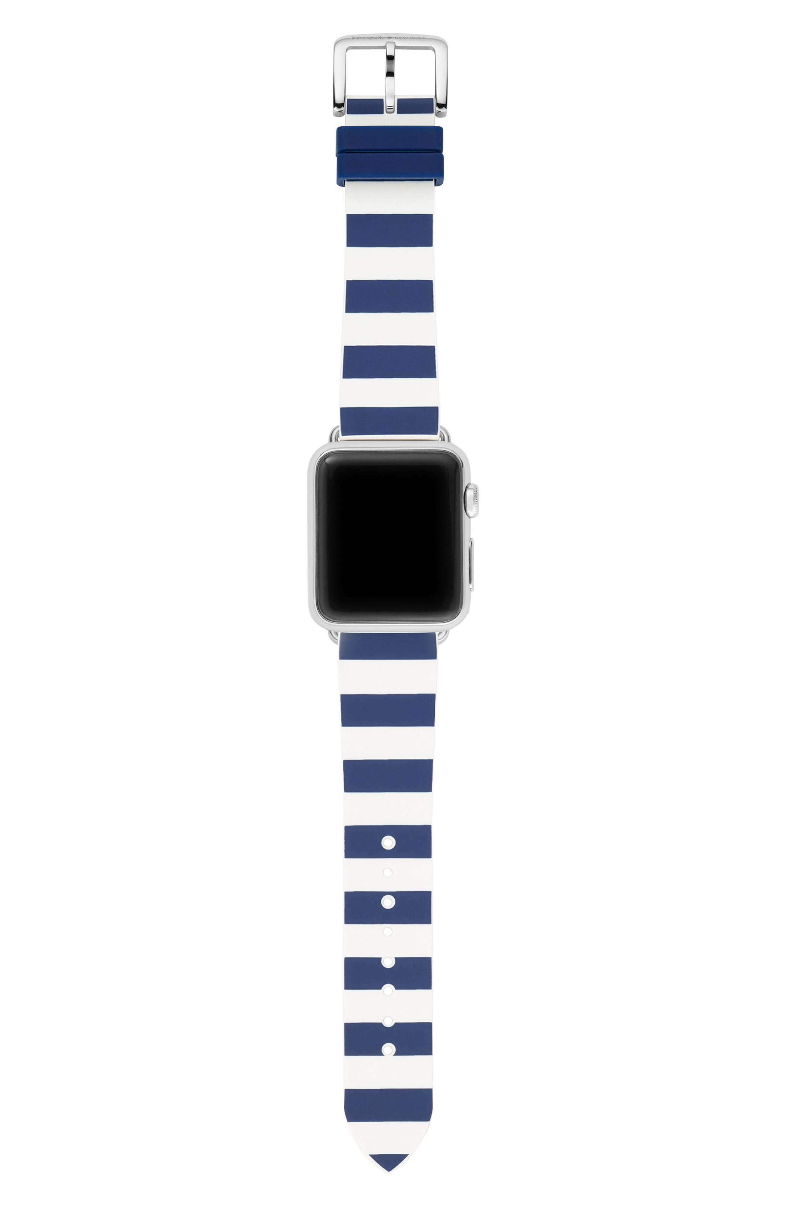 Apple<sup>®</sup> watch silicone strap, 25mm,                             Alternate thumbnail 3, color,                             BLUE/ WHITE