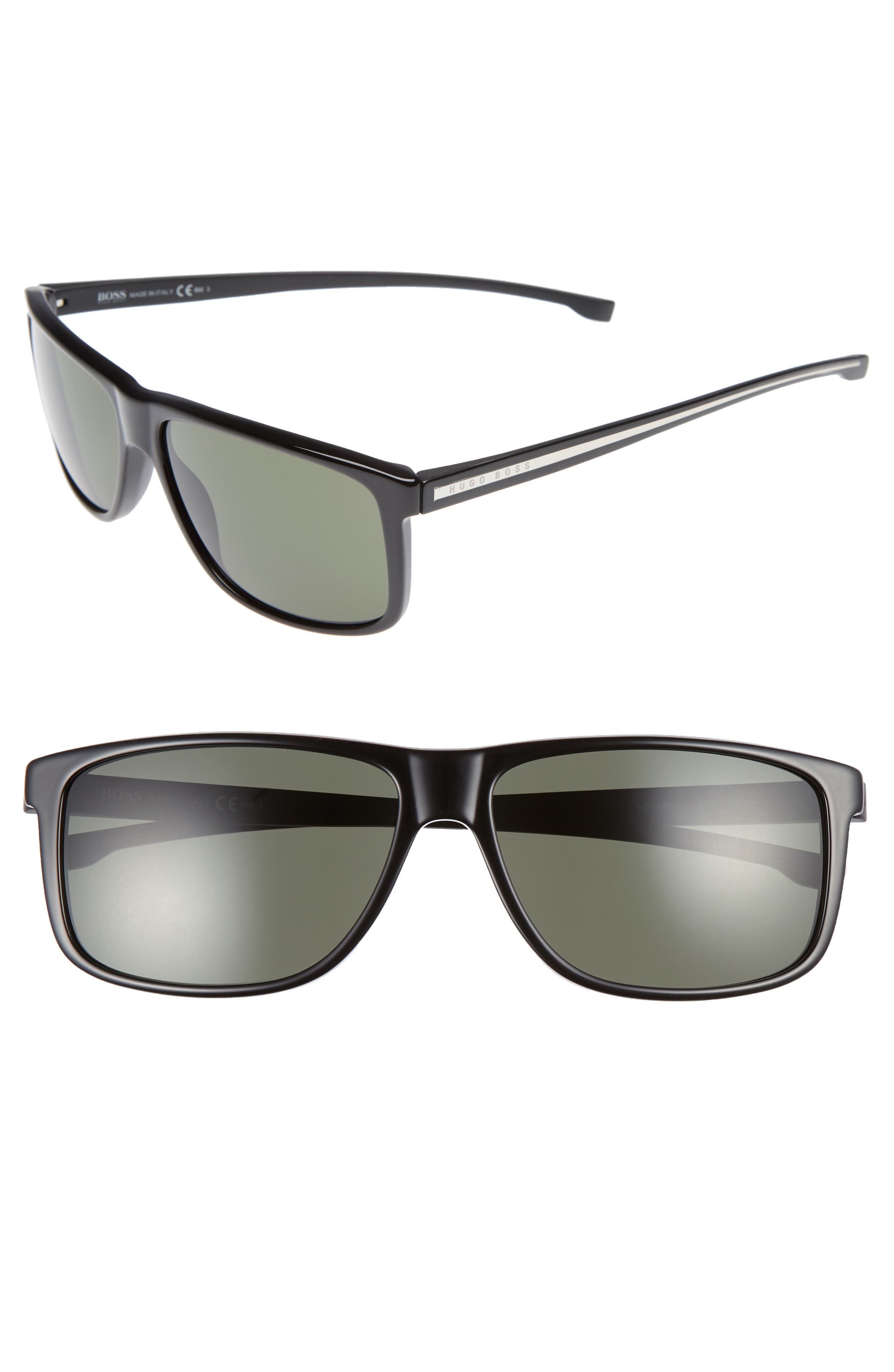 60mm Sunglasses,                             Main thumbnail 1, color,                             BLACK/ GREY GREEN