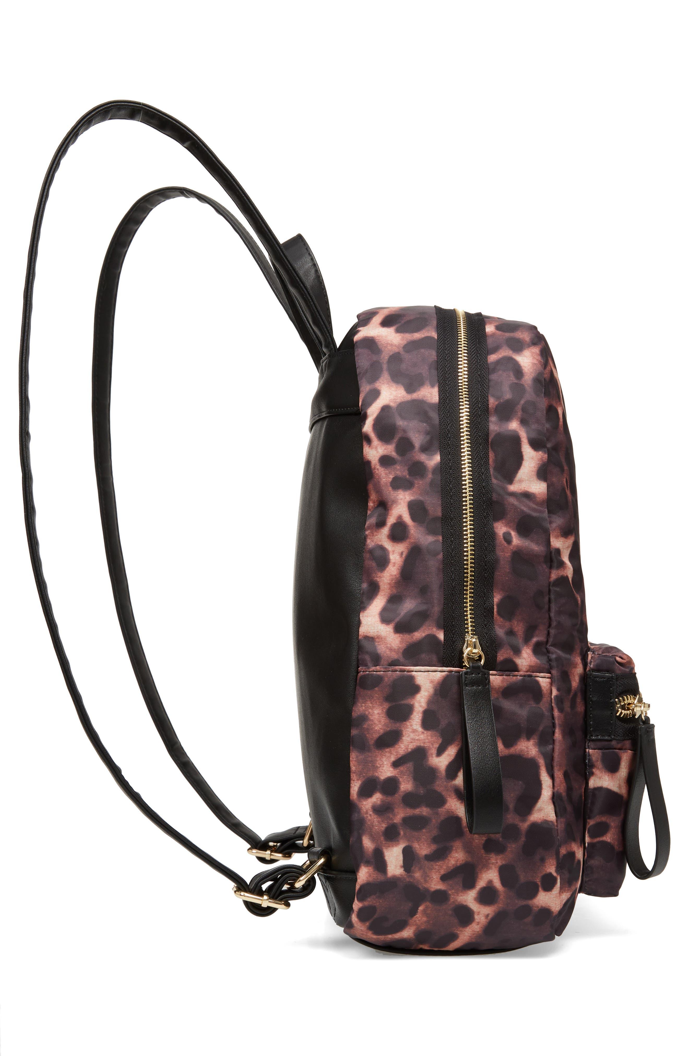 Leopard Print Nylon Backpack,                             Alternate thumbnail 5, color,                             200
