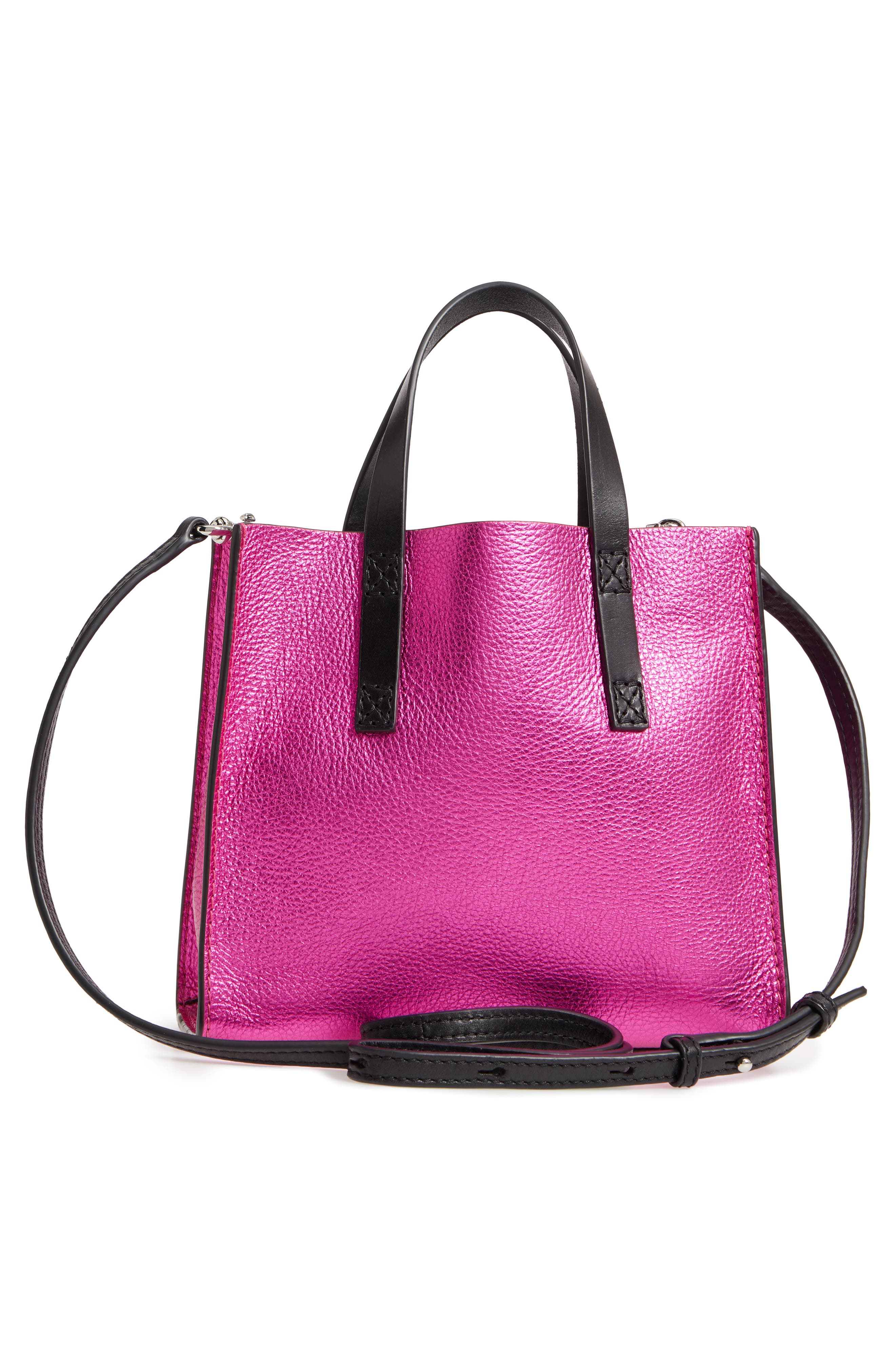 Mini The Grind Metallic Leather Tote,                             Alternate thumbnail 3, color,                             PUNCH PINK