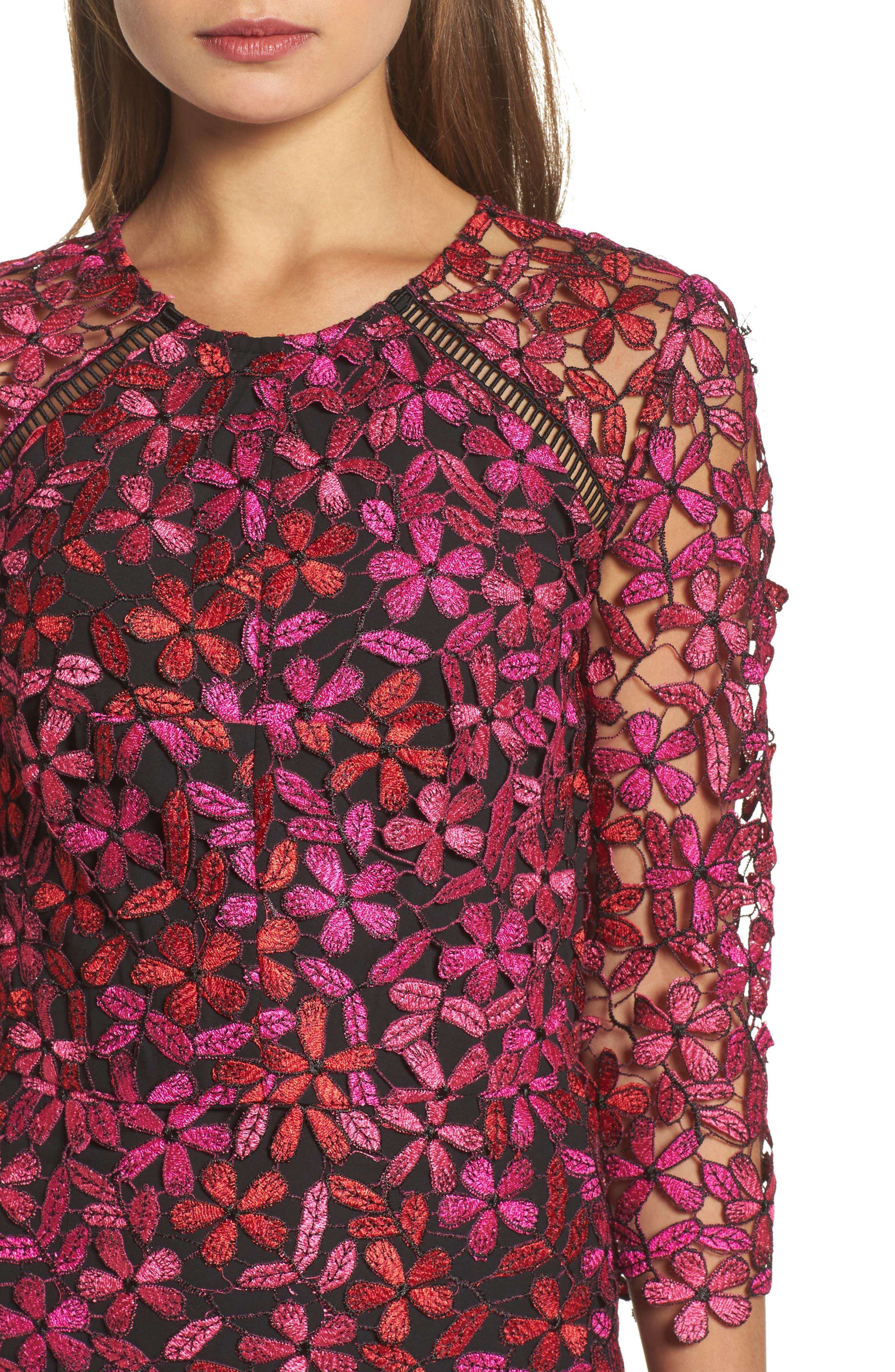 Floral Lace Sheath Dress,                             Alternate thumbnail 4, color,                             651