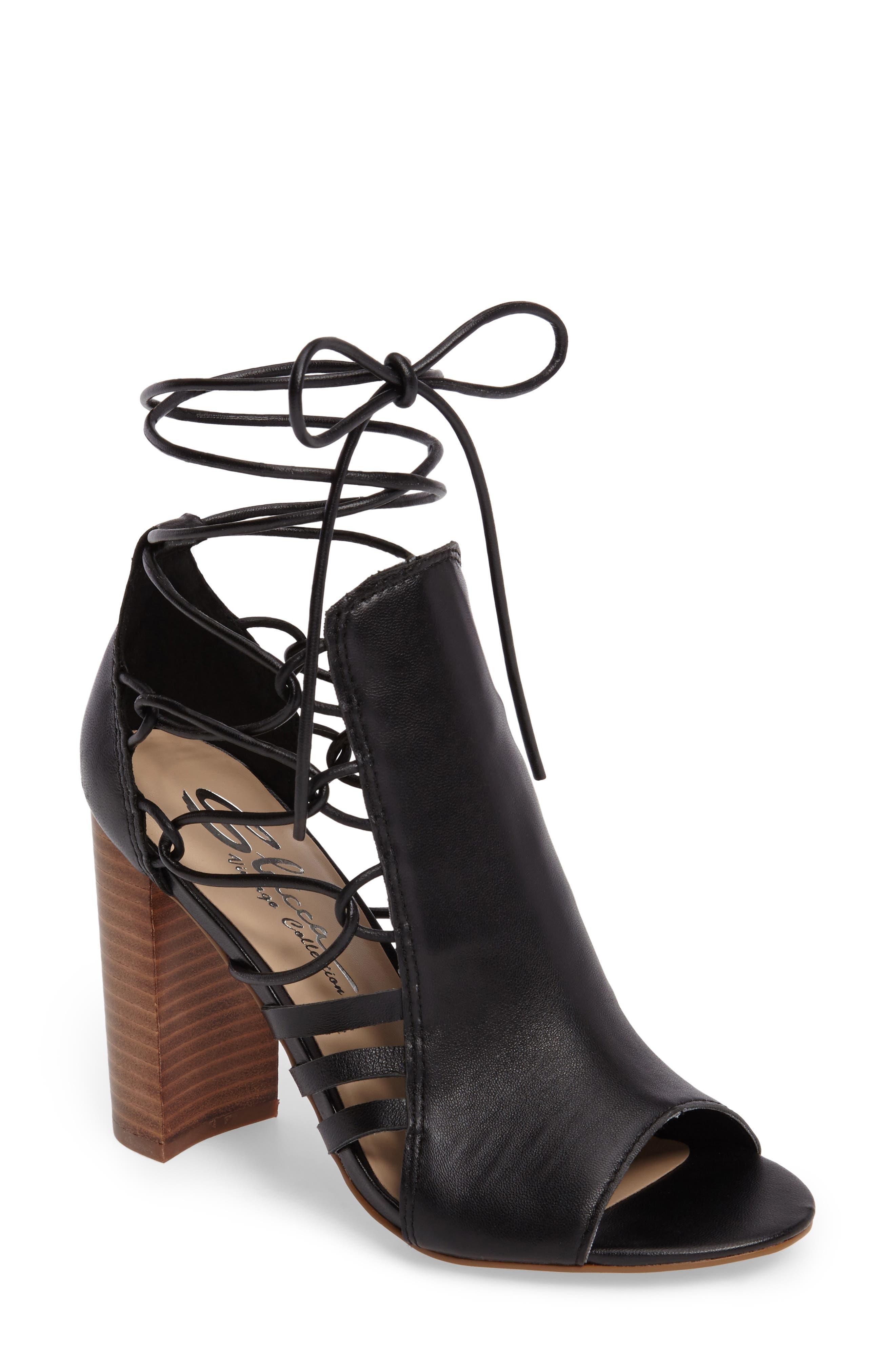 Adette Ankle Tie Sandal,                         Main,                         color, 001