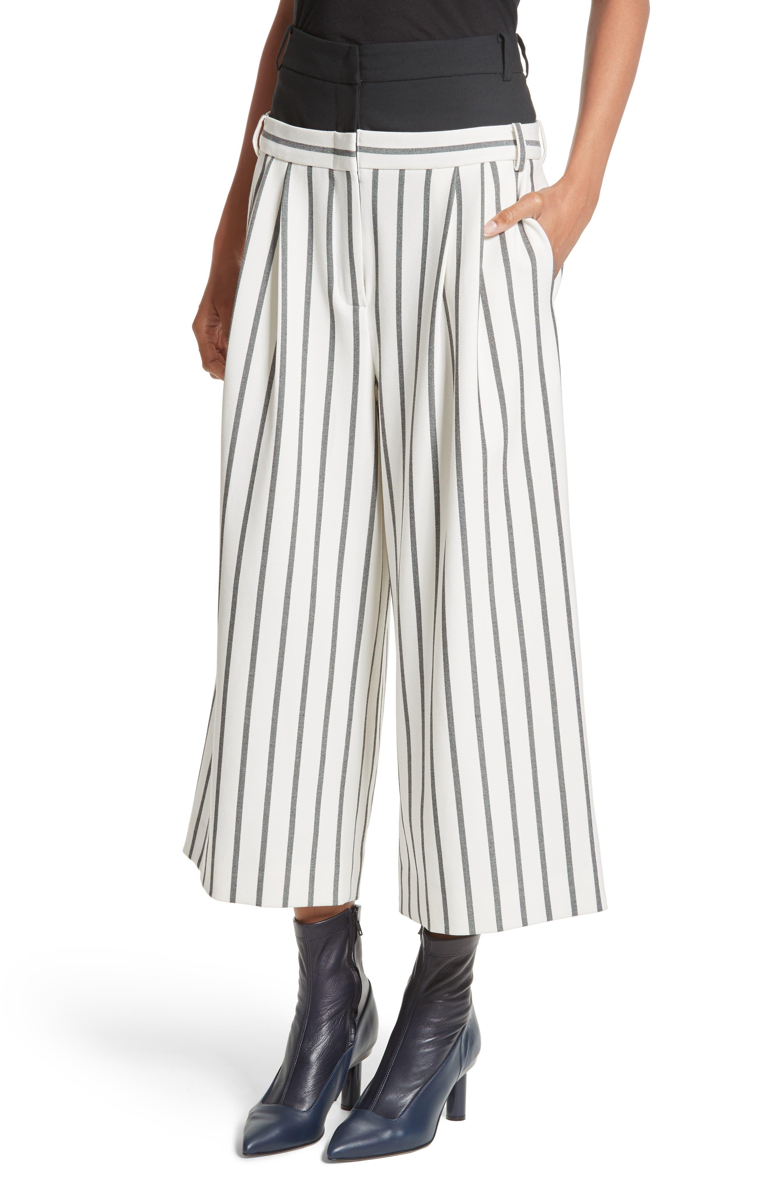 Lucci Stripe Crop Wide Leg Pants,                             Alternate thumbnail 4, color,                             907