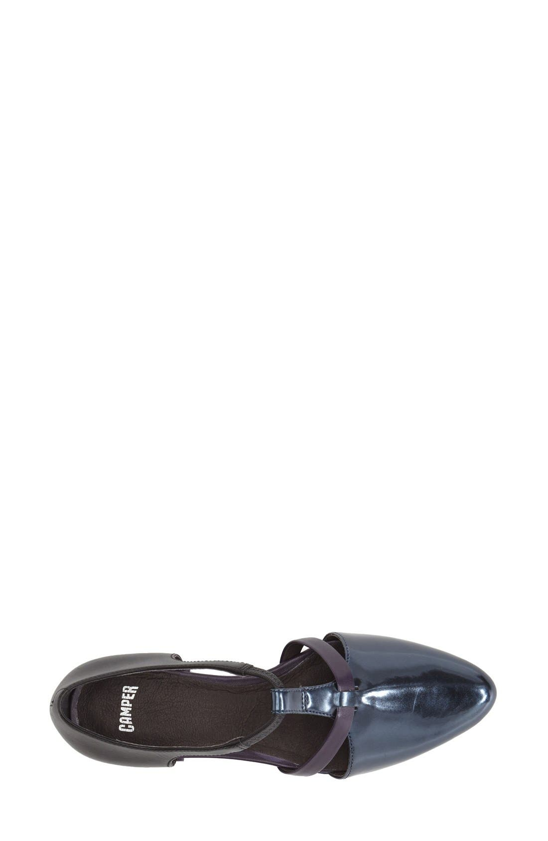 'Isadora' T-Strap Leather Flat,                             Alternate thumbnail 2, color,                             001