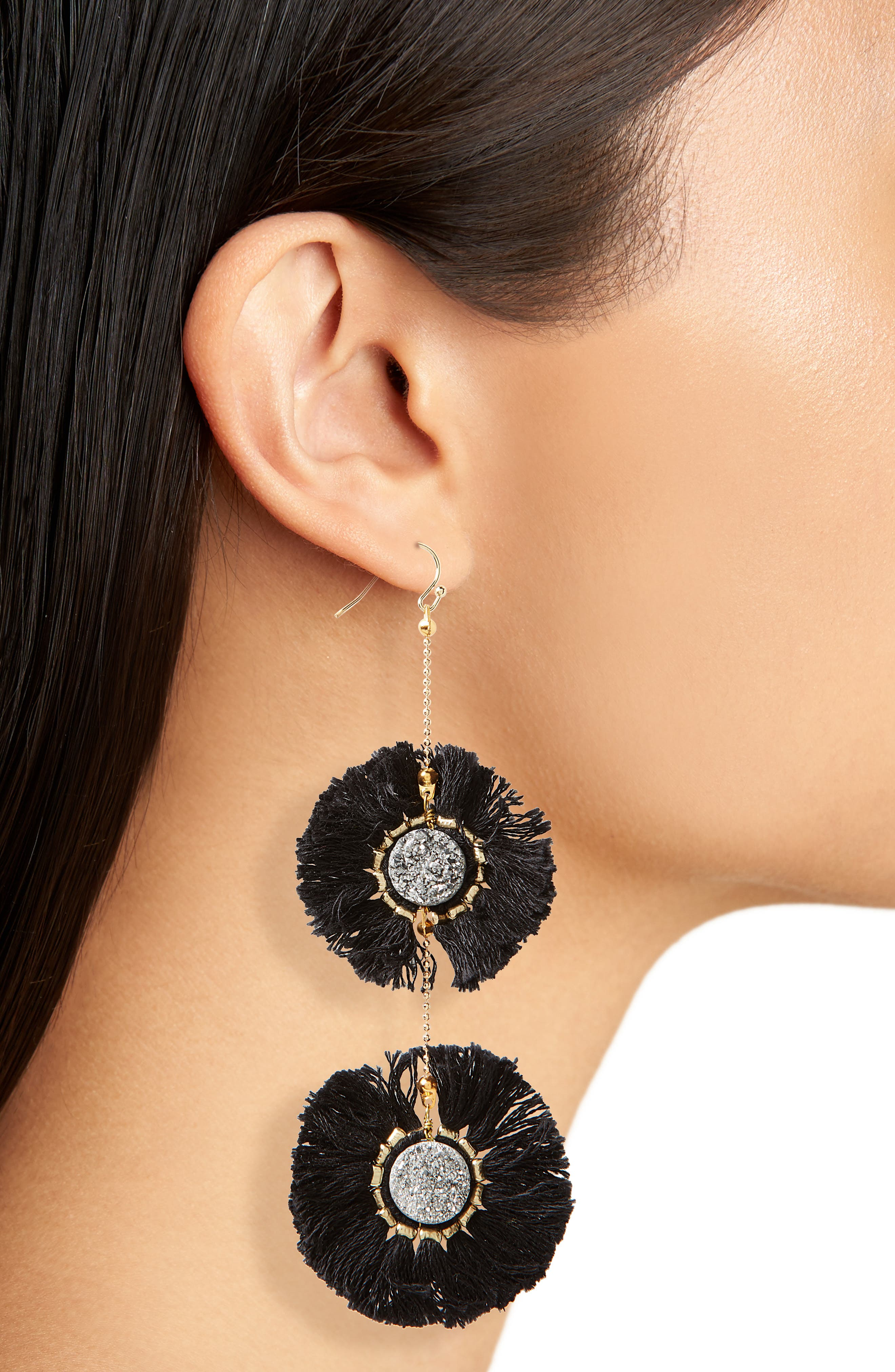 Fringe Circle Earrings,                             Alternate thumbnail 2, color,                             001