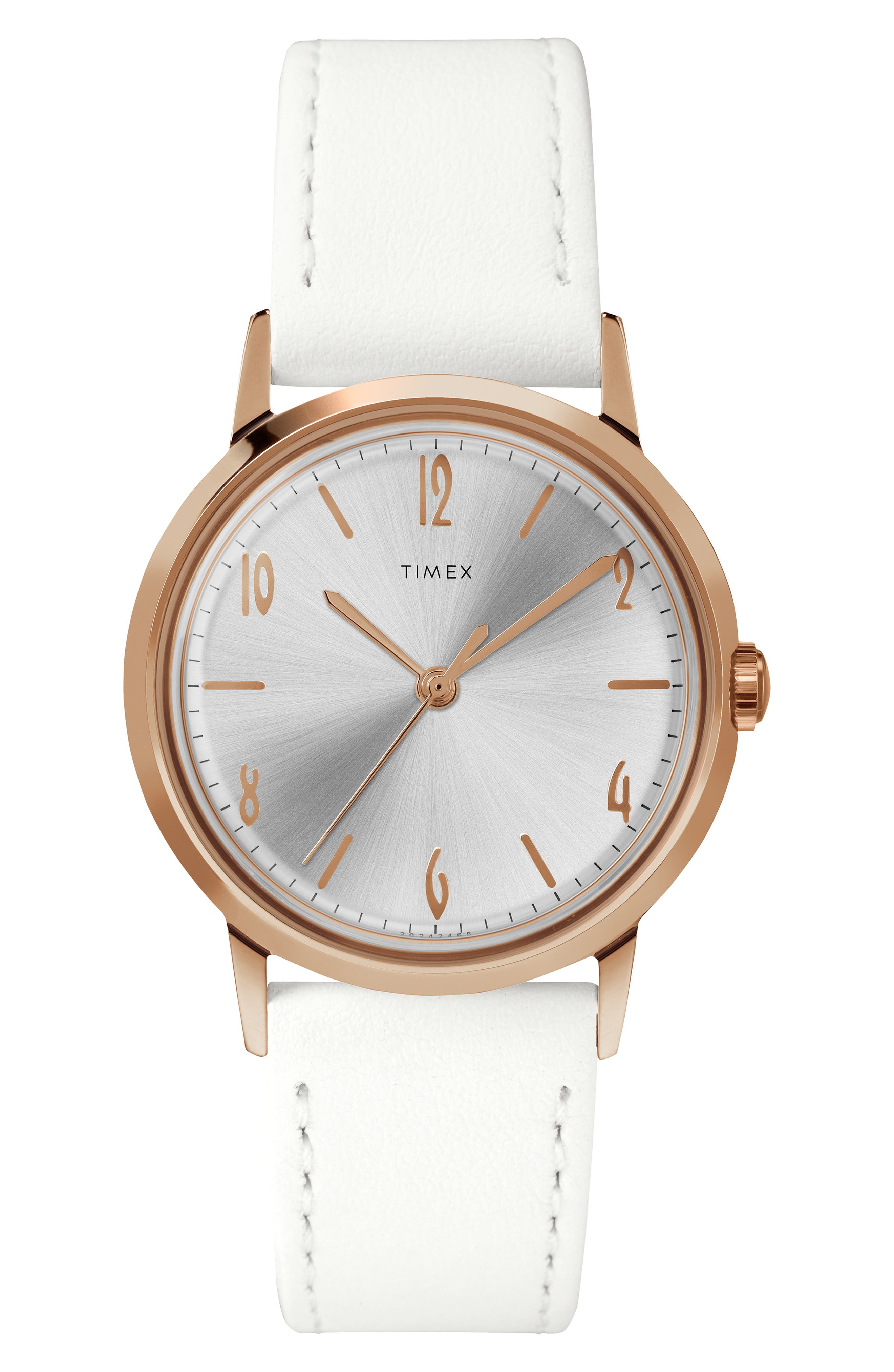 TIMEX<SUP>®</SUP>,                             Marlin Leather Strap Watch, 34mm,                             Main thumbnail 1, color,                             WHITE/SUNRAY/ ROSE GOLD