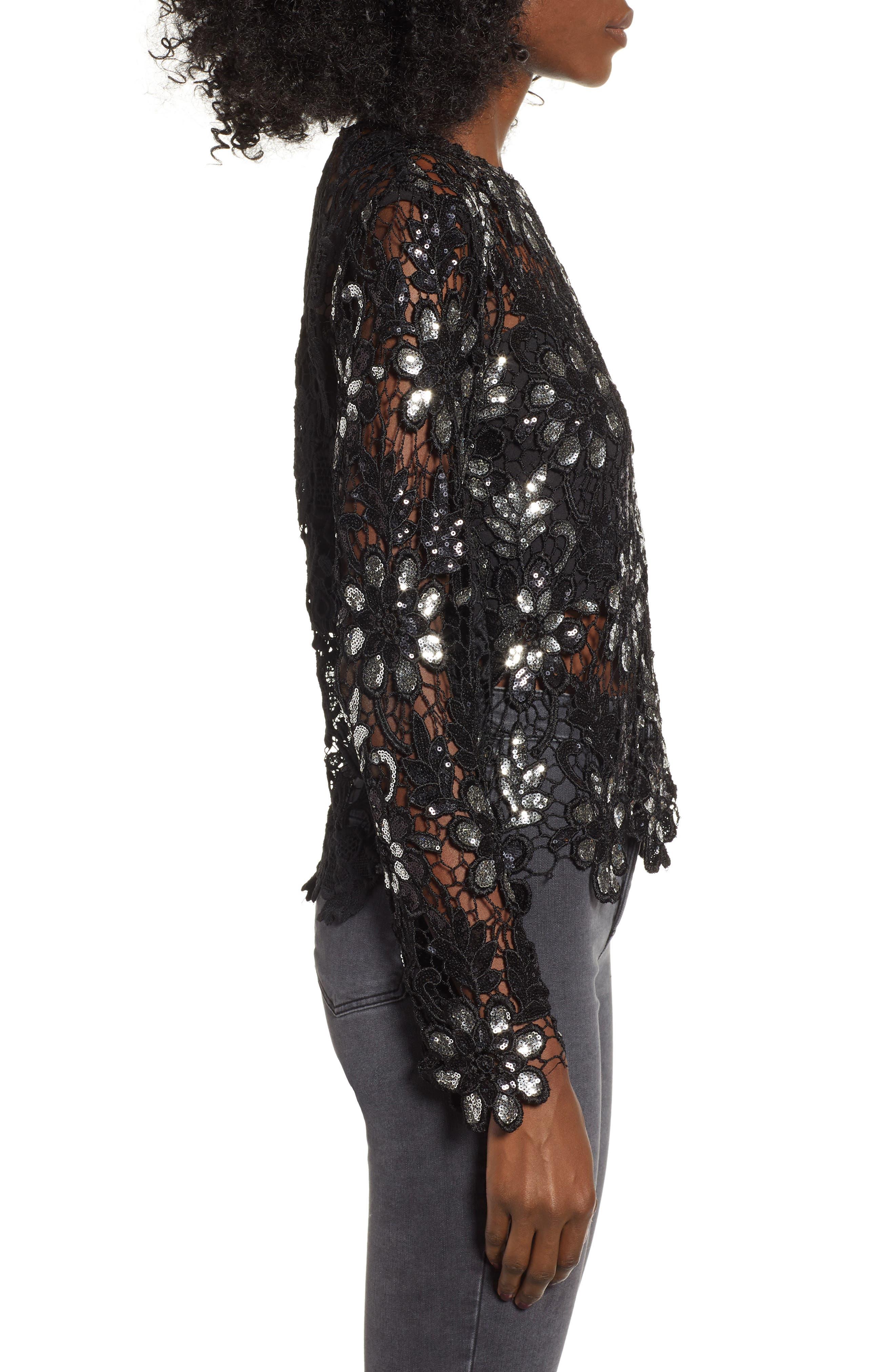 Sequin Lace Top,                             Alternate thumbnail 3, color,                             001
