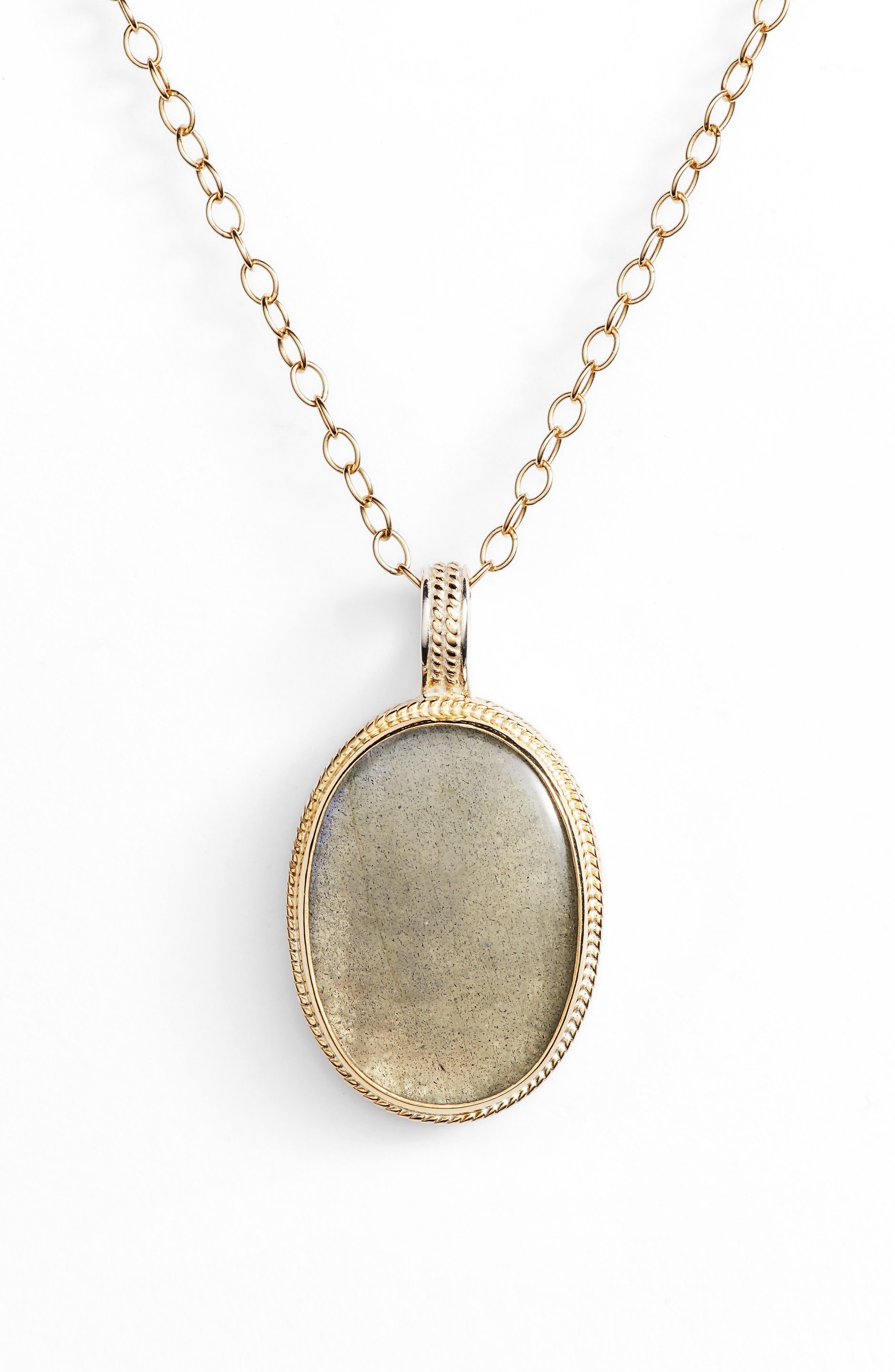 Semiprecious Stone Pendant Necklace,                             Alternate thumbnail 2, color,                             GOLD/ LABRADORITE