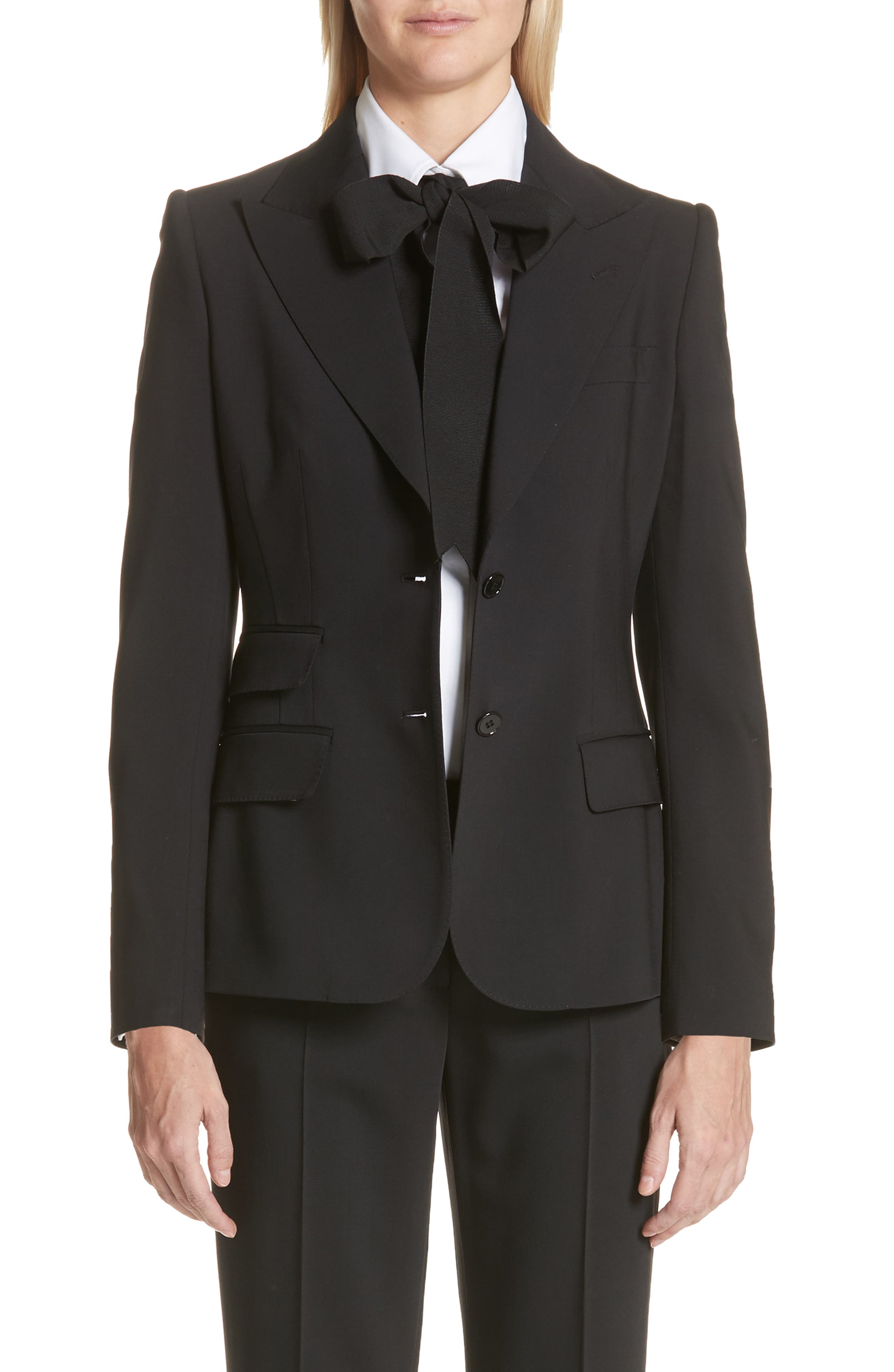 Two Button Stretch Wool Jacket,                             Main thumbnail 1, color,                             BLACK